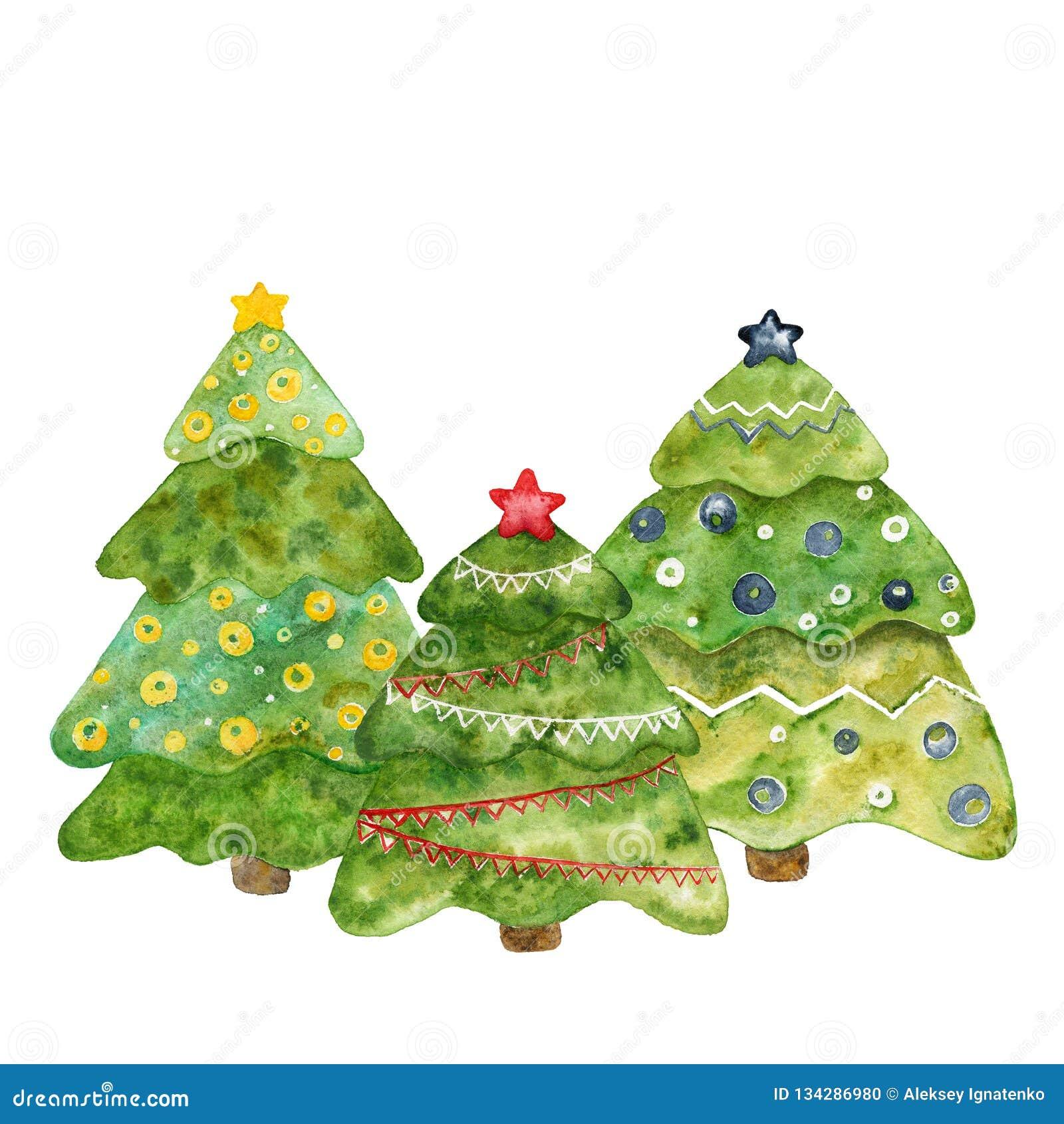 Drei dekorative Weihnachtsbäume Aquarellkarte