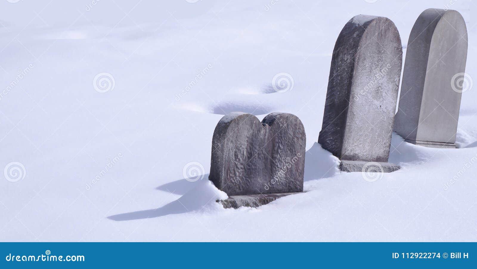 Drei Finanzanzeigen im Schnee an einem sonnigen Tag