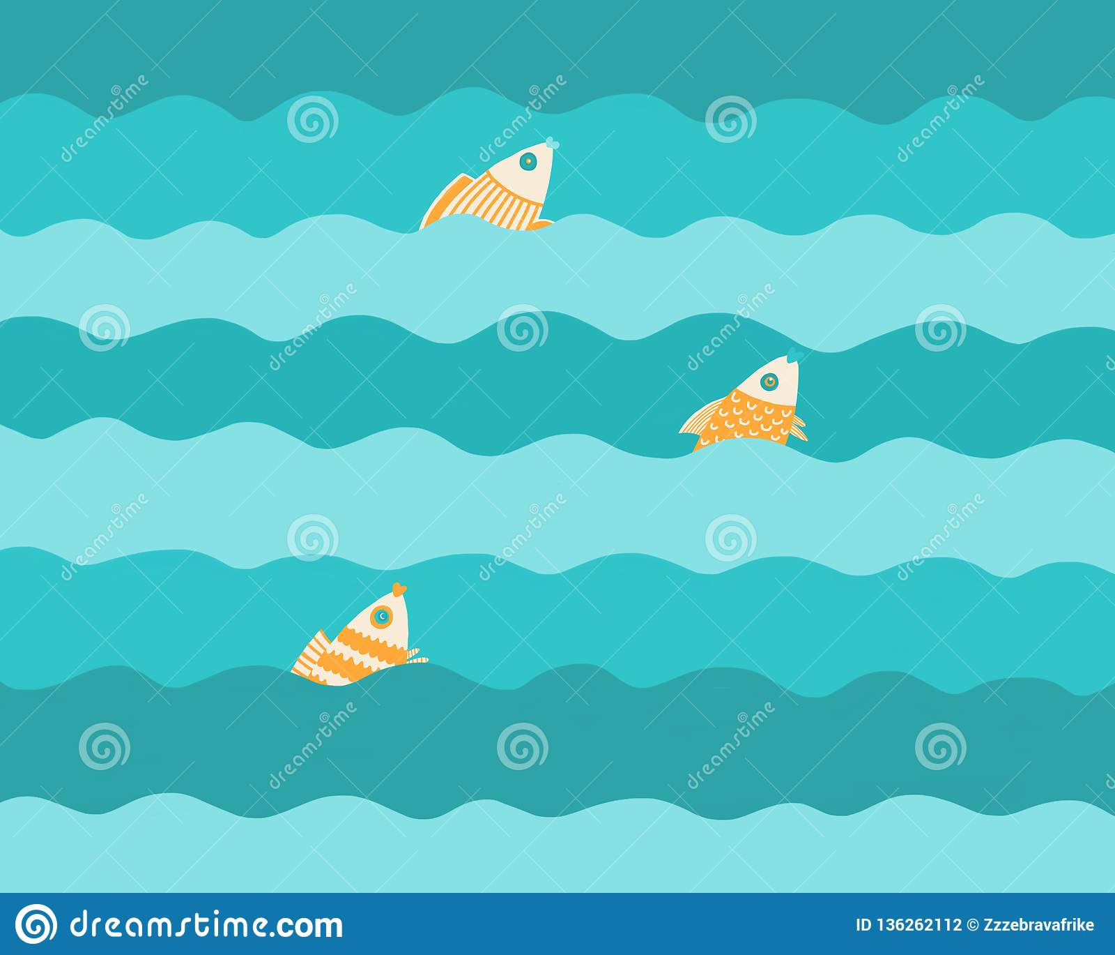 Drei Fische auf den Wellen