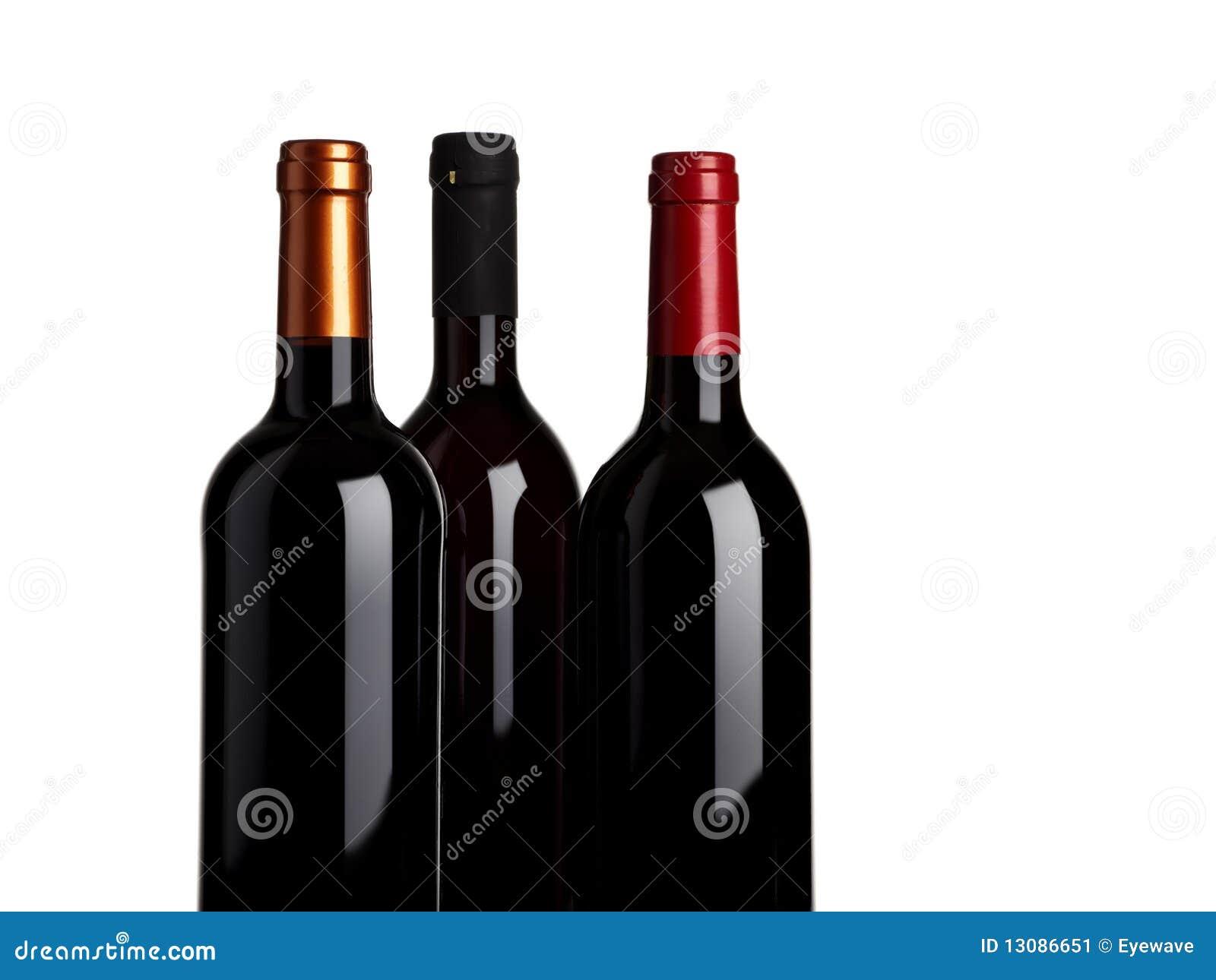 Drei Flaschen Rotwein