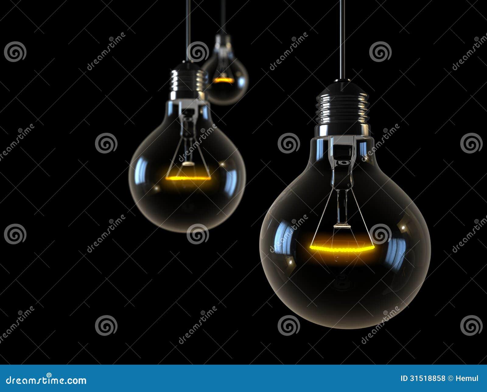 Drei Glühende Lichter Auf Schwarzem Hintergrund Stockfoto - Bild ...