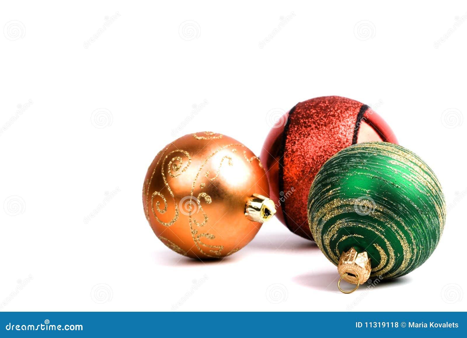 Drei Glasweihnachtskugeln