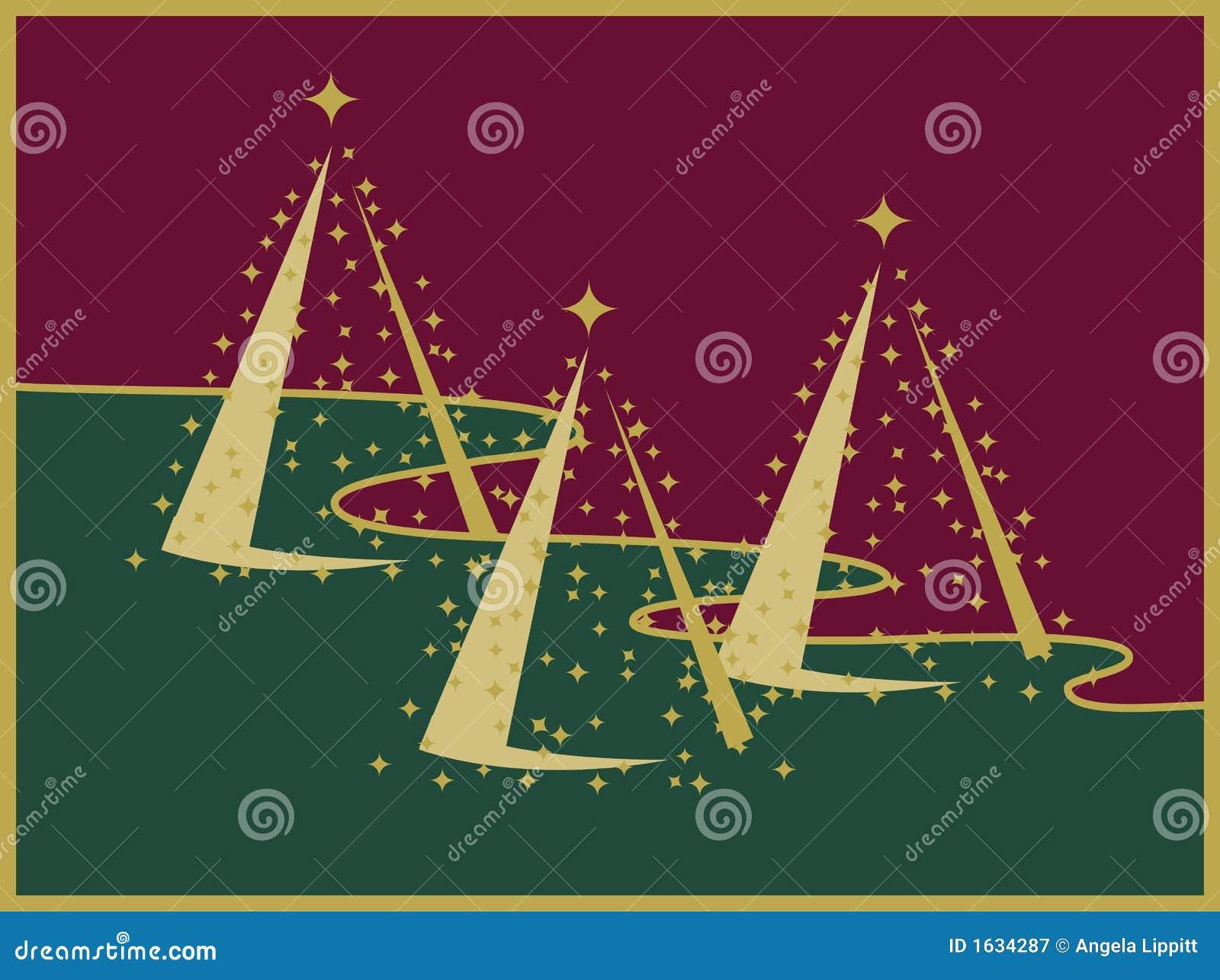 Drei Goldweihnachtsbäume auf roter und grüner Landschaft