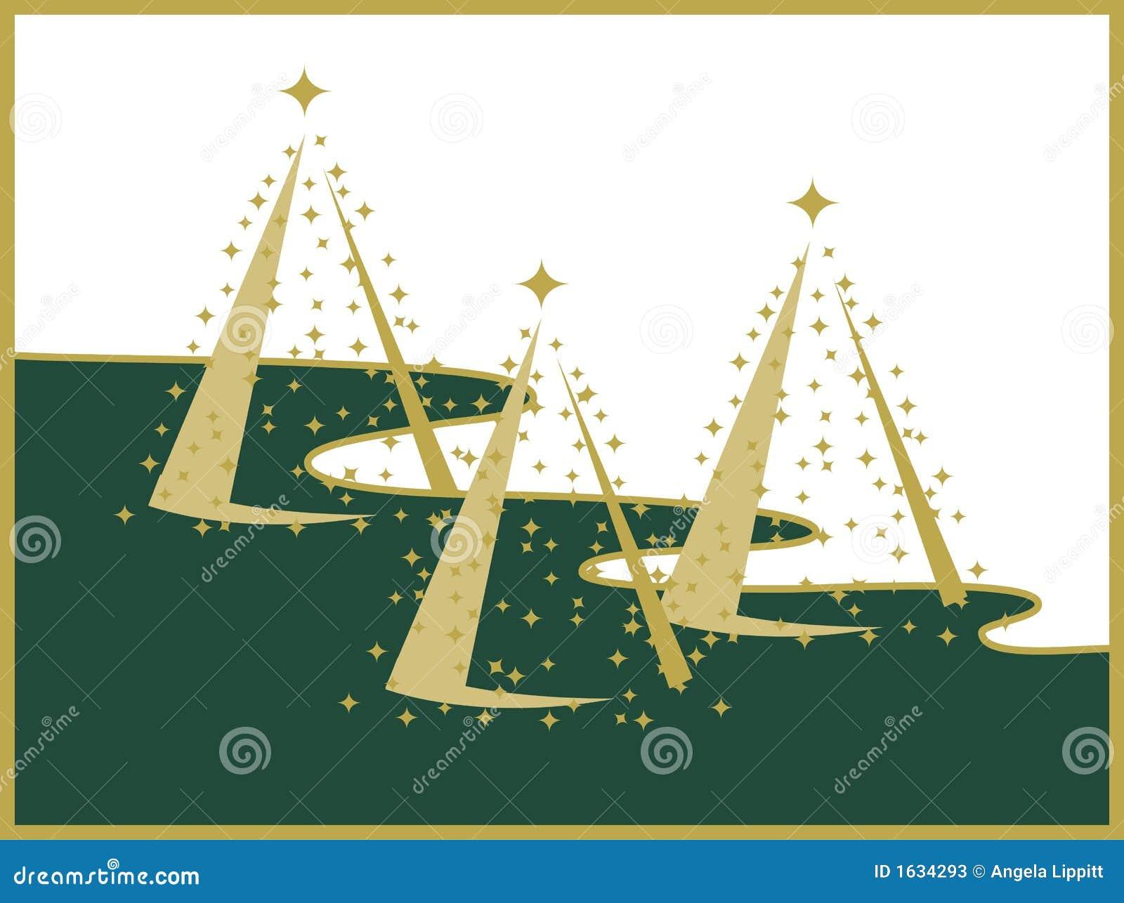 Drei Goldweihnachtsbäume auf weißer und grüner Landschaft