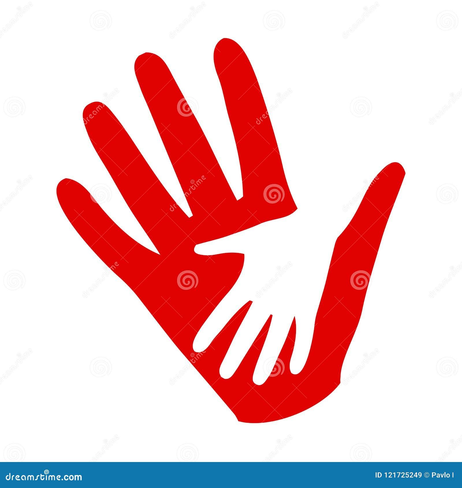 Drei Hände auf Händen, Nächstenliebeikone, Organisation von Freiwilligen, Familiengemeinschaft