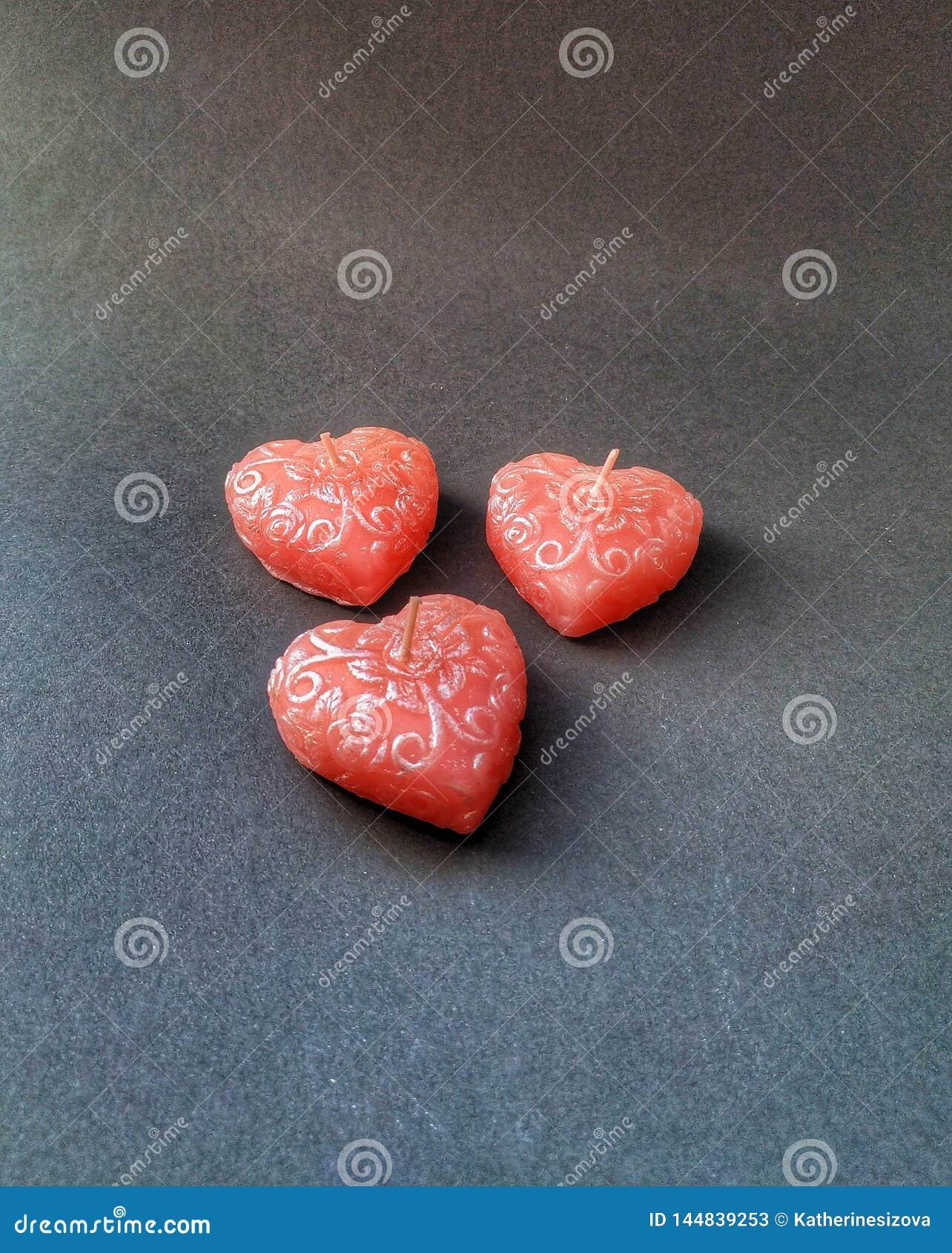 Drei Herzkerzen