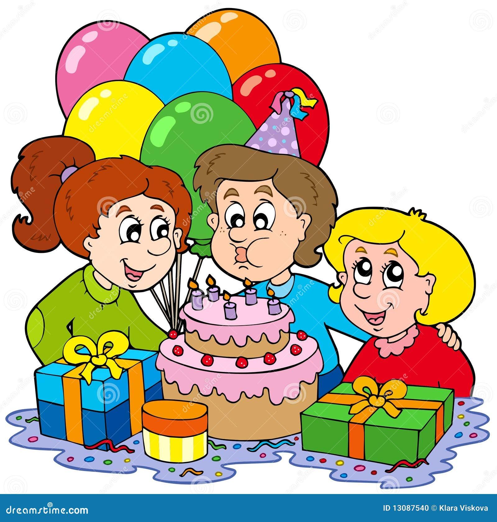 Drei Kinder An Der Geburtstagsfeier Stockfoto - Bild: 13087540