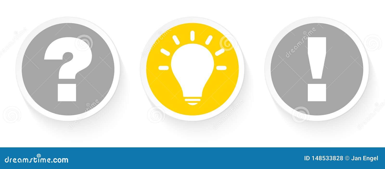 Drei Knöpfe stellen Idee und Antwort Grey And Yellow in Frage