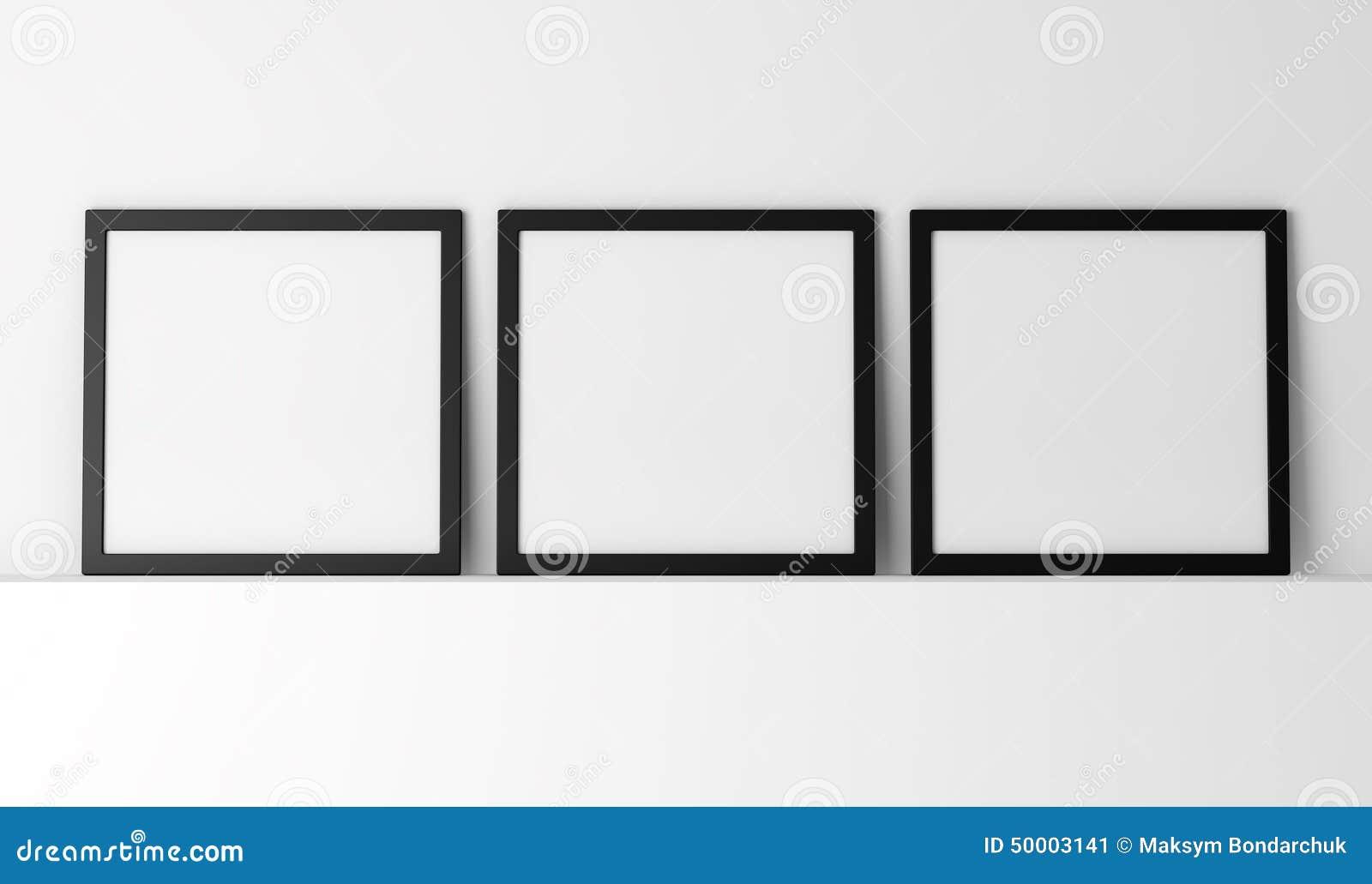 Drei Leere Schwarze Fotorahmen Stock Abbildung - Illustration von ...