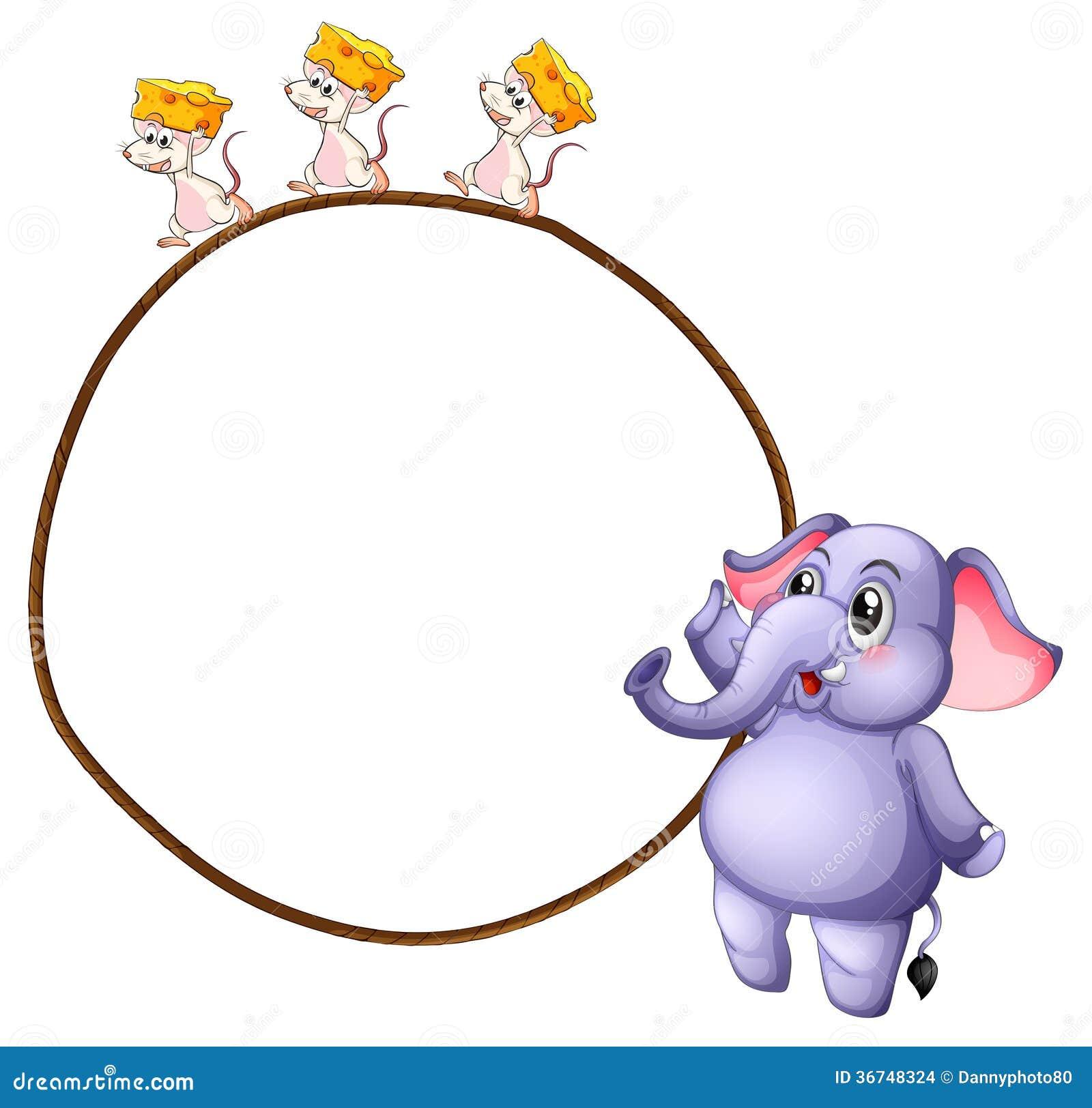 Drei Mäuse und ein Elefant stock abbildung. Illustration von ...