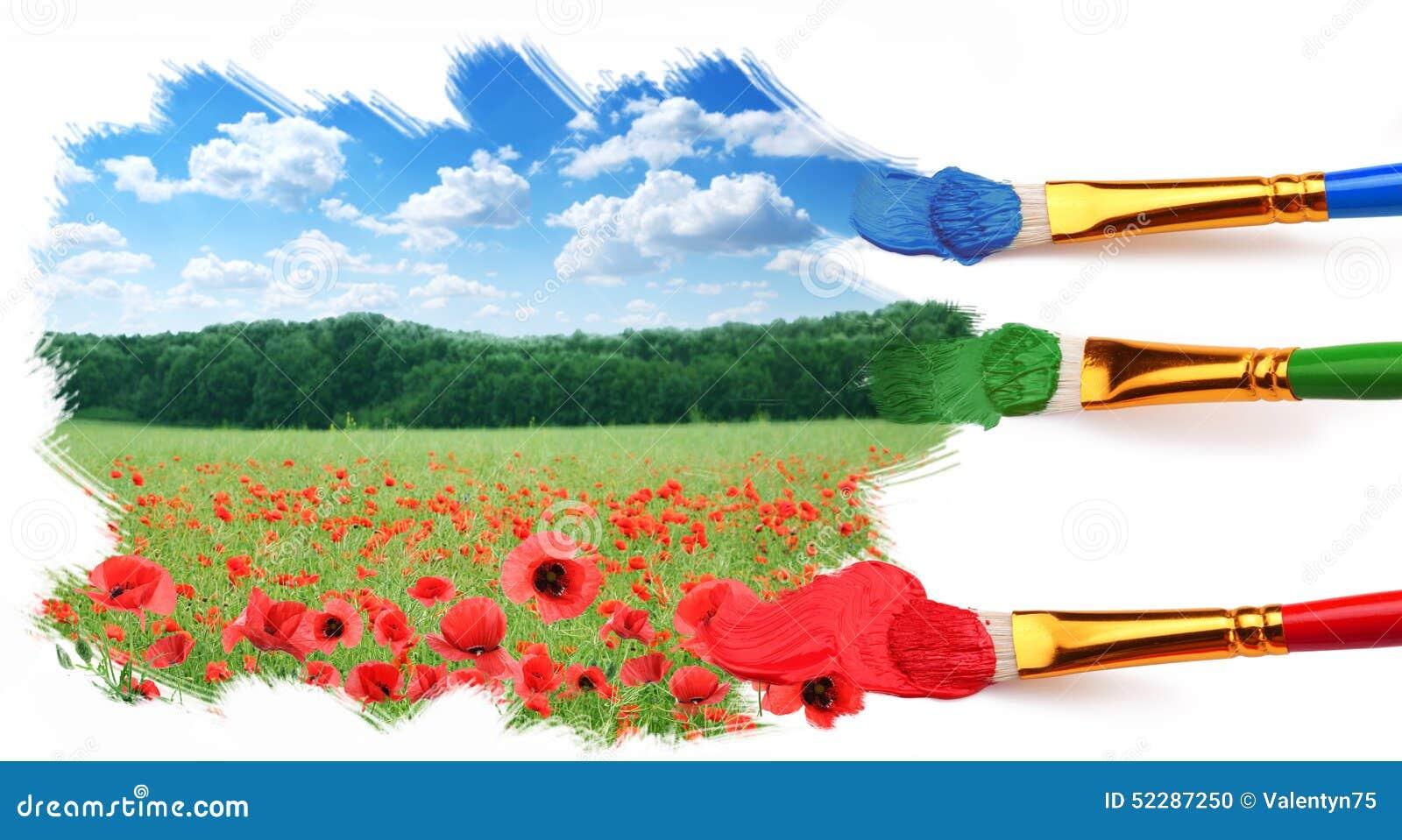 Drei Pinsel Malen Eine Schöne Landschaft Stockfoto Bild Von