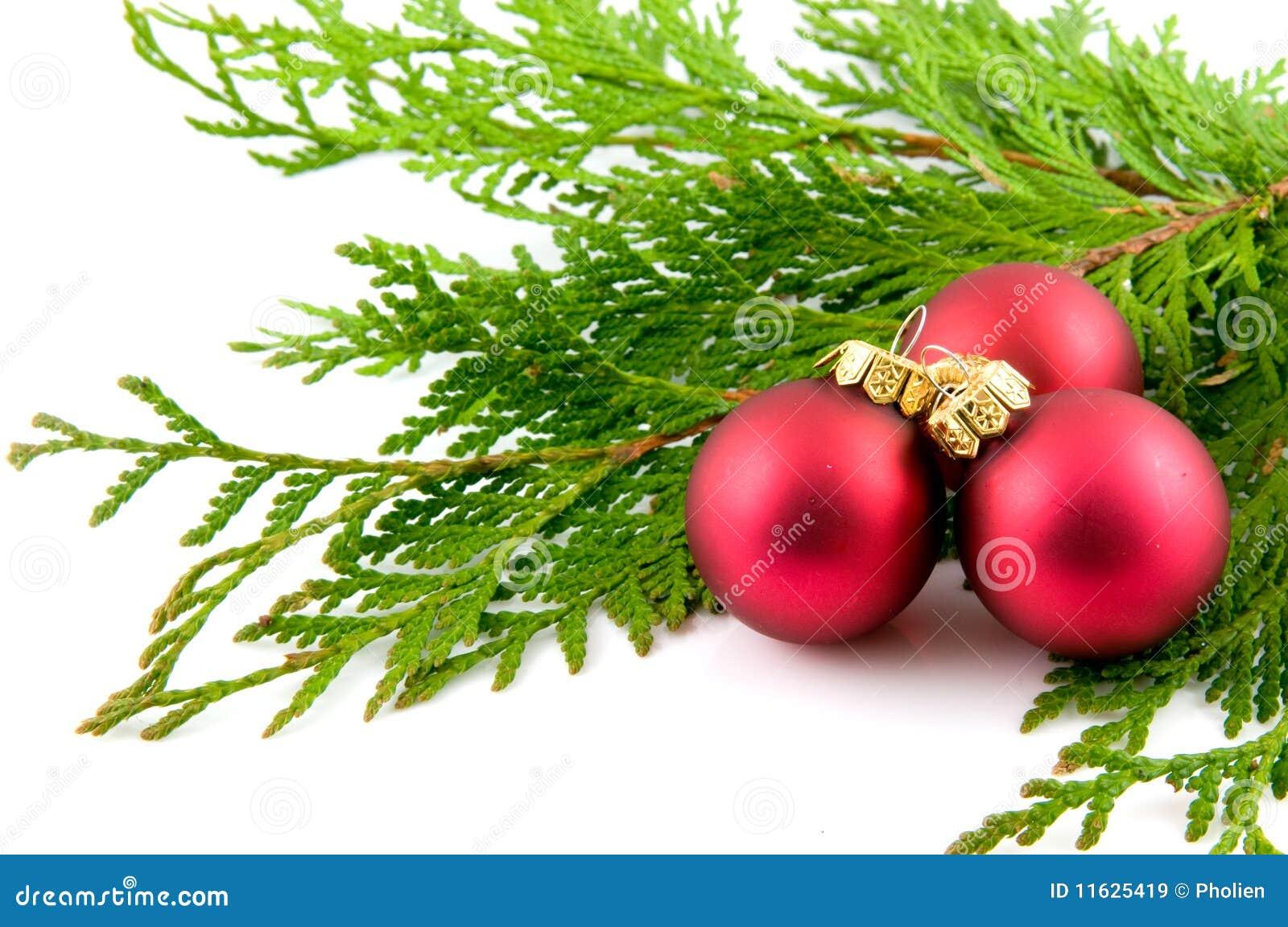 drei rote weihnachtskugeln mit zweigen stockbild bild. Black Bedroom Furniture Sets. Home Design Ideas