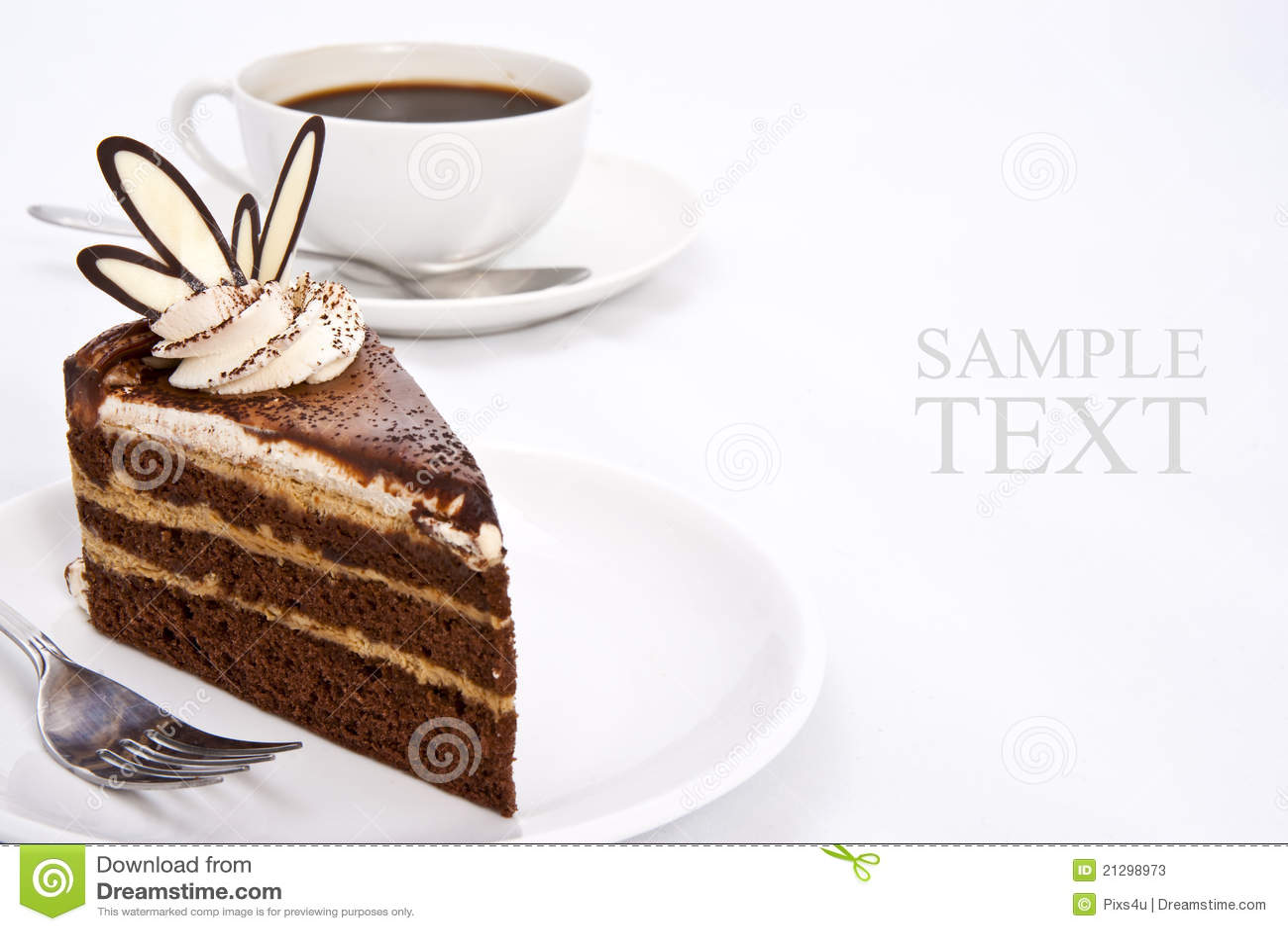drei schichten schokoladen kuchen und espresso kaffee stockfotos bild 21298973. Black Bedroom Furniture Sets. Home Design Ideas