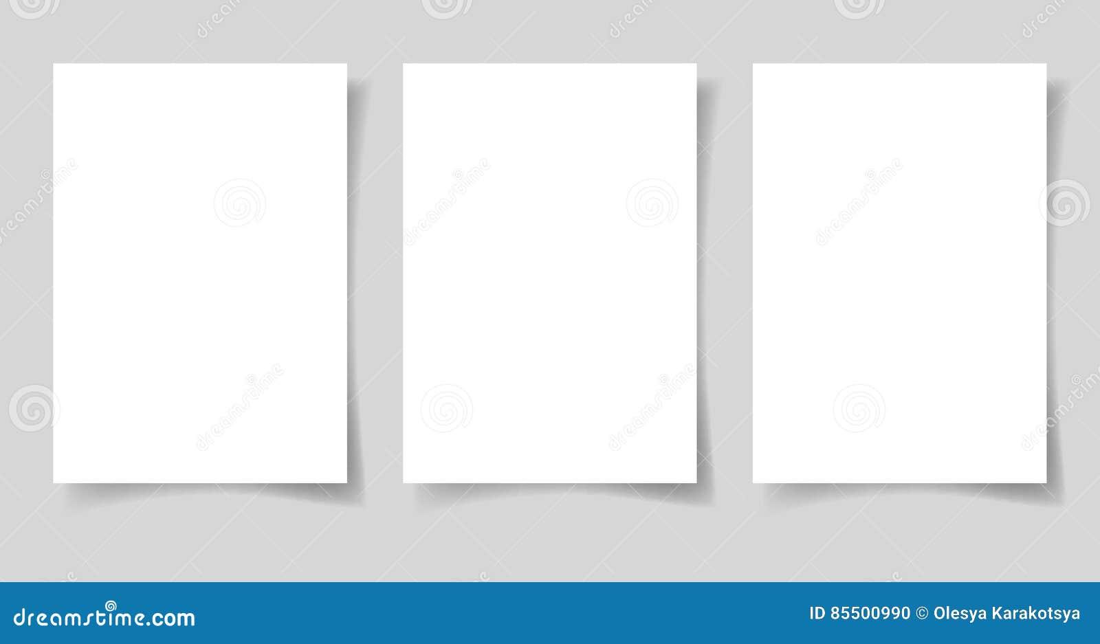 Drei Stücke Leerbeleg des Formats des Weißbuches A4