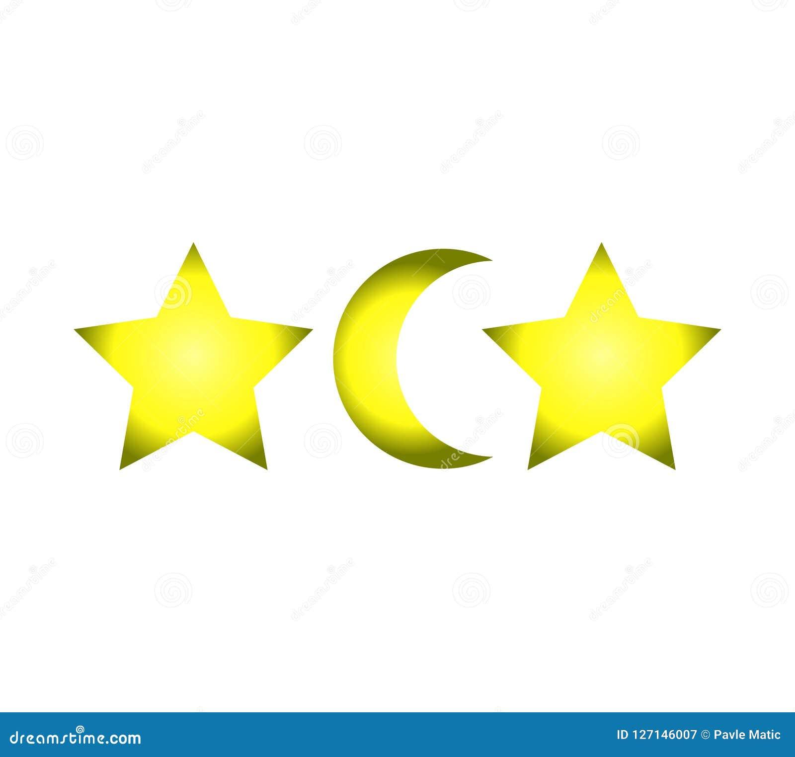 drei symbole zwei sterne und ein mond vektor abbildung