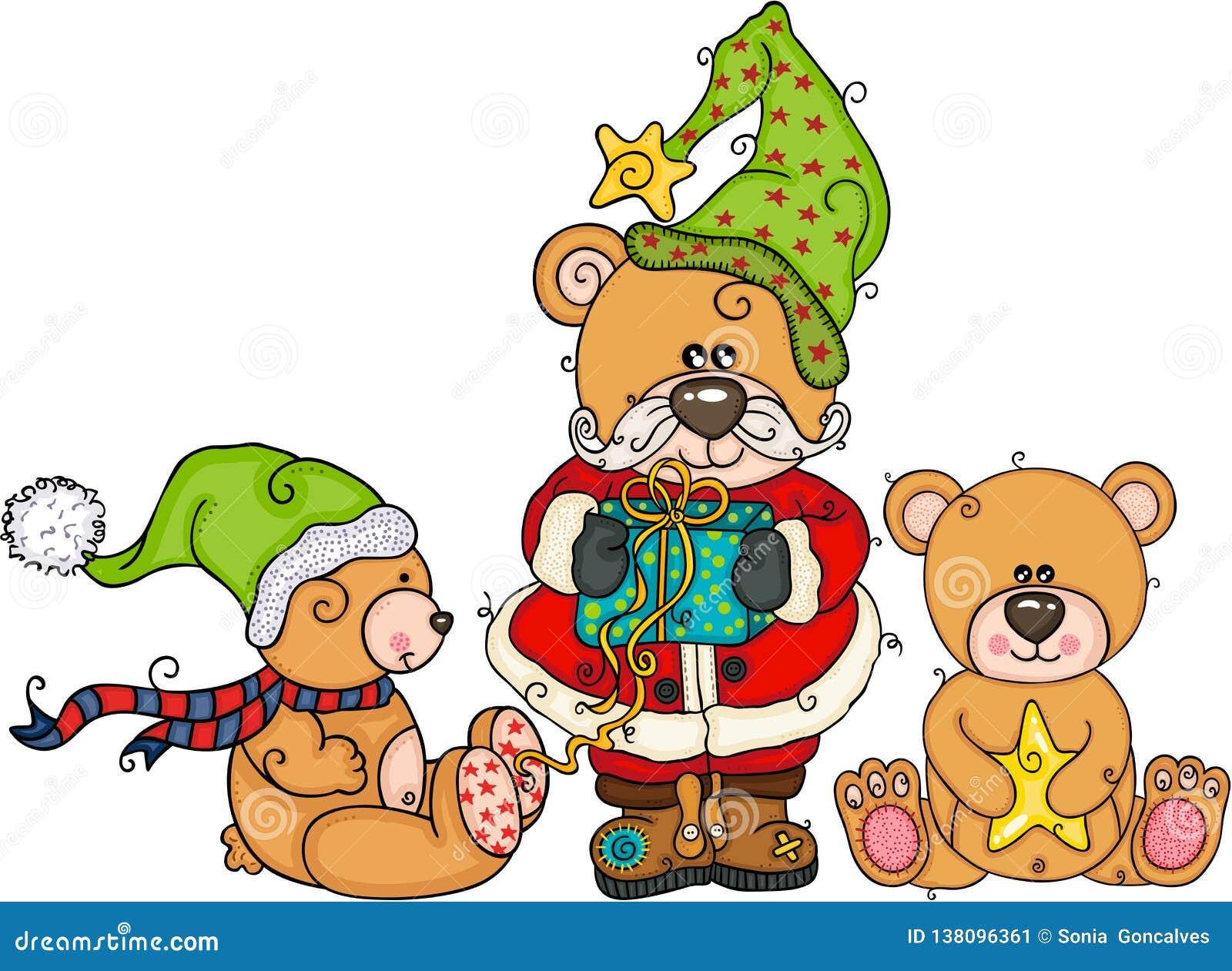 Drei Teddybären am Weihnachten