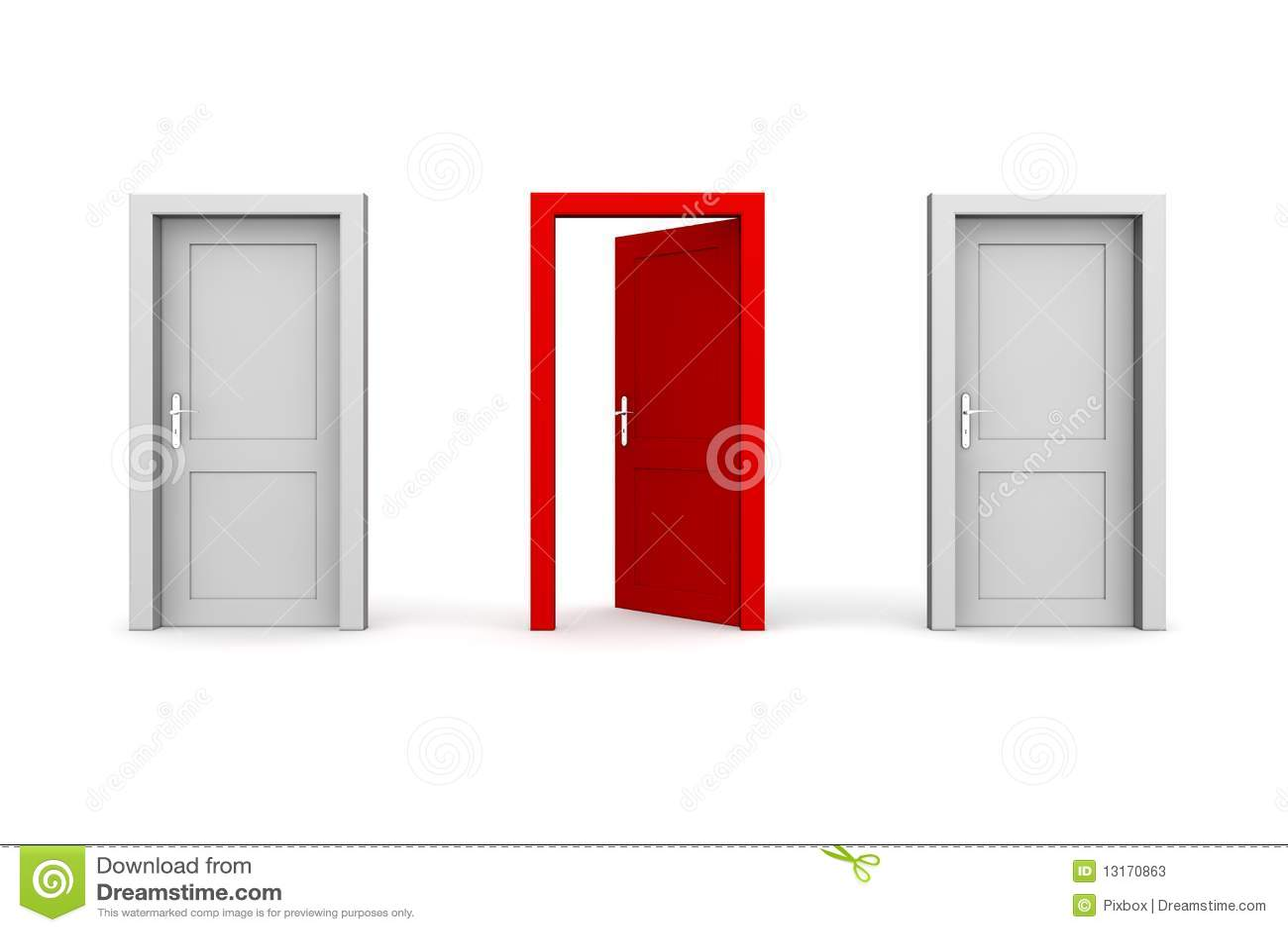 drei t ren grau und rot zwei geschlossen eins ge ffnet stockfotos bild 13170863. Black Bedroom Furniture Sets. Home Design Ideas