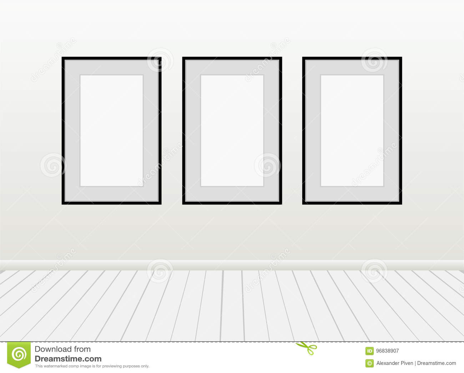 Drei Vektor-leerer Leerer Weiß-Spott Herauf Poster-Bildschwarz ...