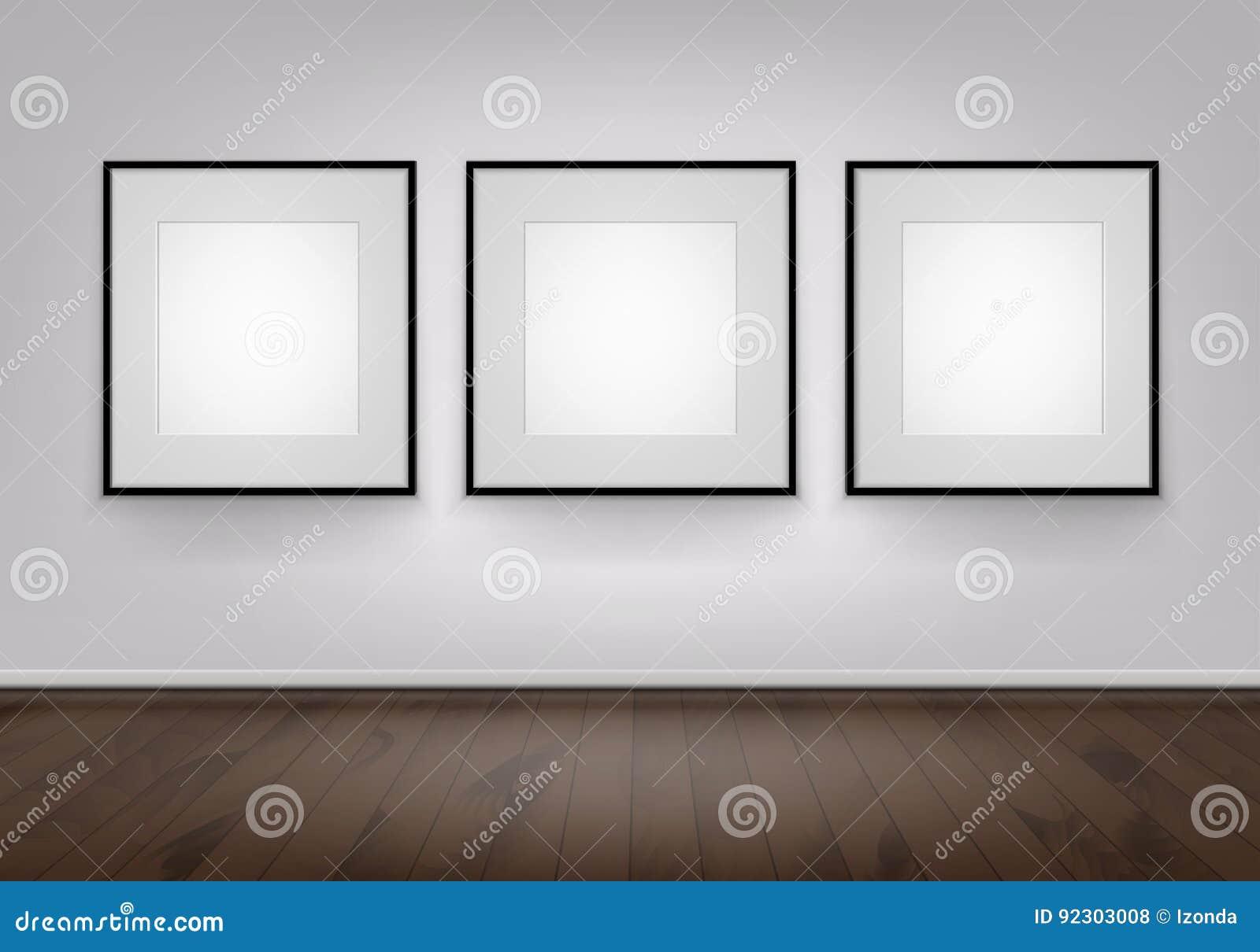 Drei Vektor-leerer Weiß-Spott Herauf Poster-Bildschwarz-Rahmen Auf ...