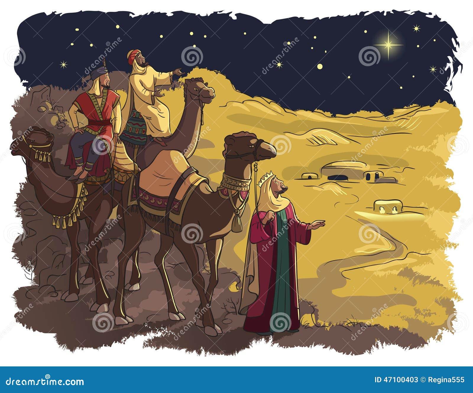 Drei weise Männer, die dem Stern von Bethlehem folgen