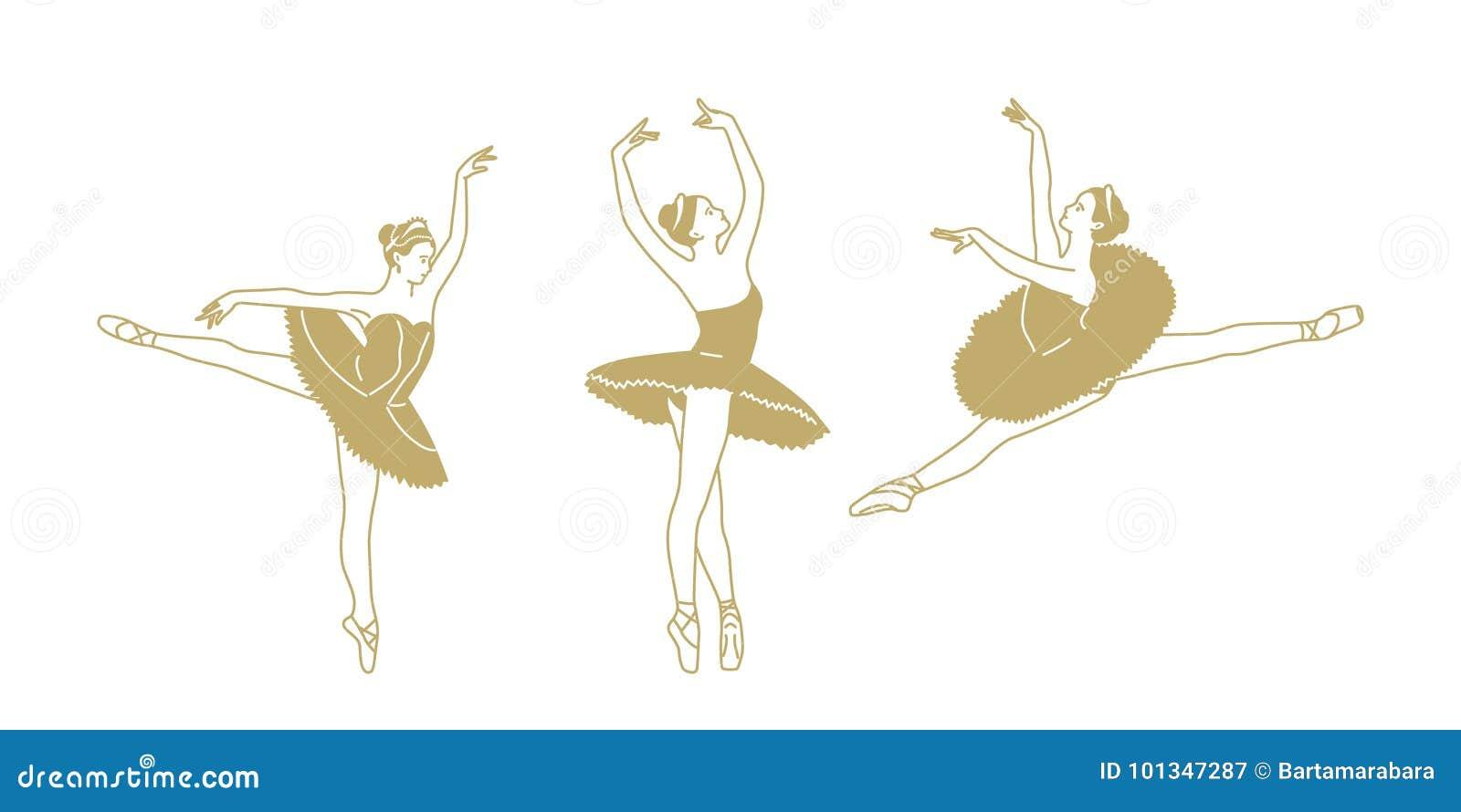 Drei Zahlen von Tanzenballerinen