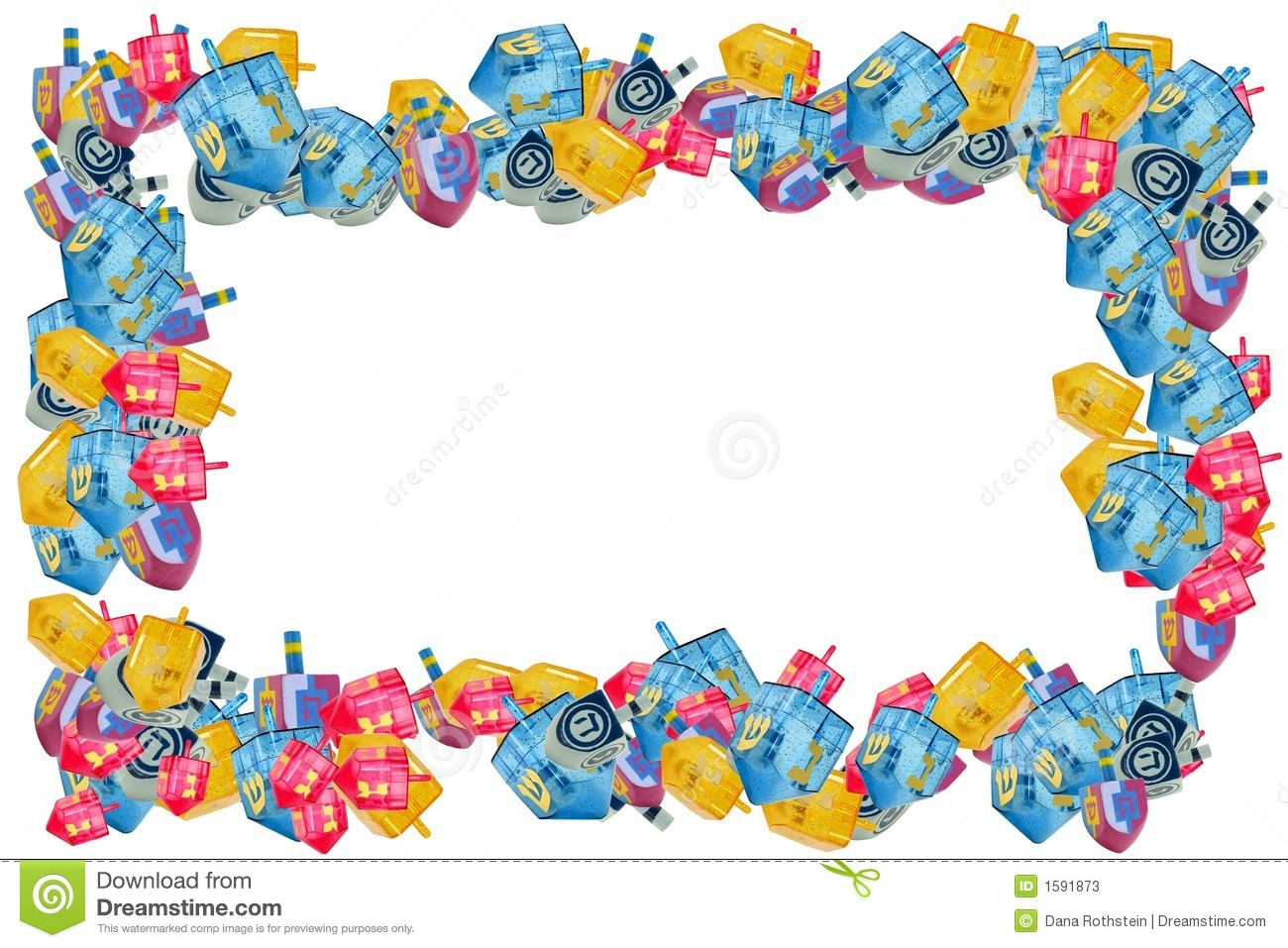 Various Size Shapes and Color Driedels - Chanukah Border.