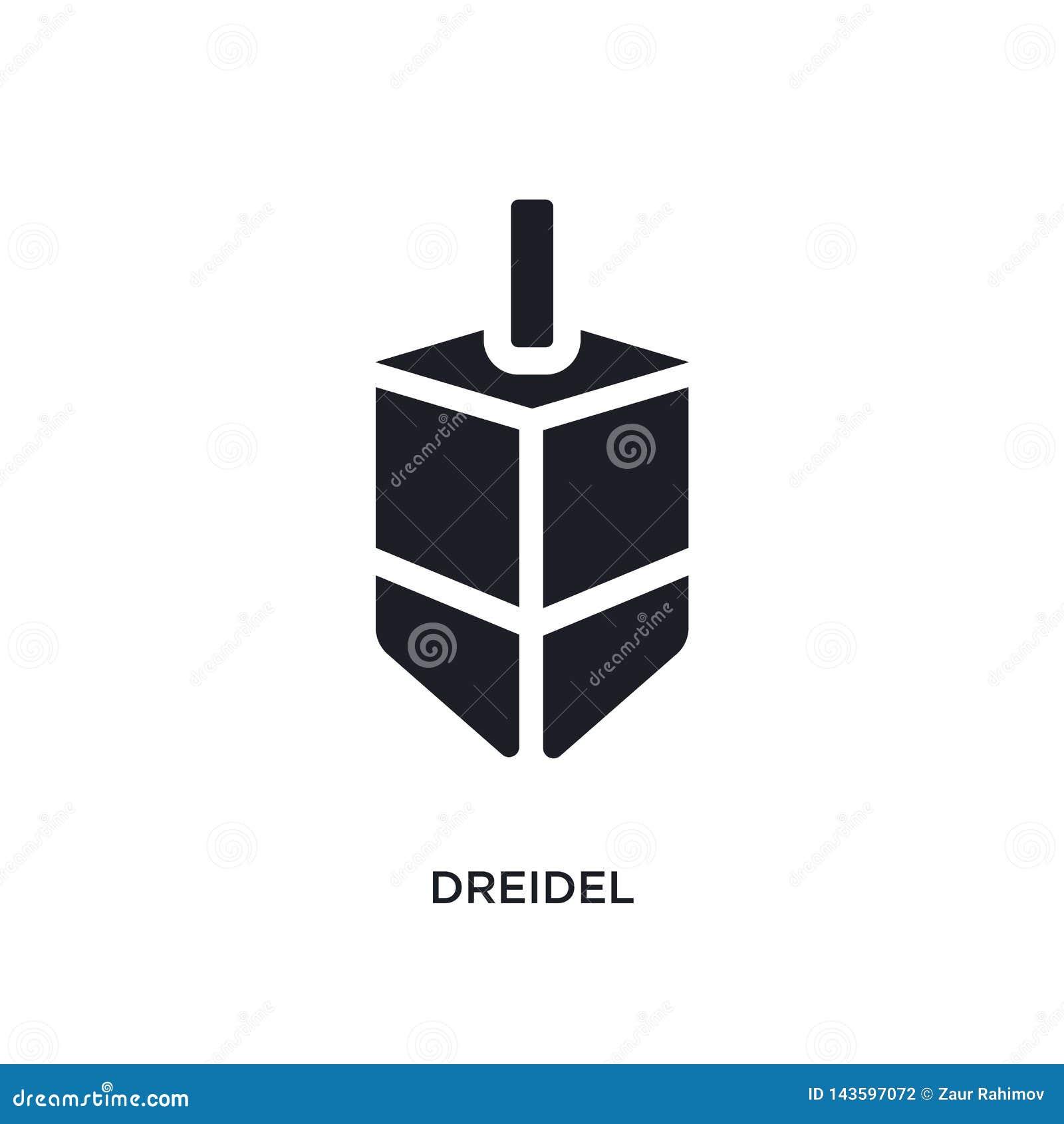 Dreidel preto ícone isolado do vetor ilustra??o simples do elemento dos ?cones do vetor do conceito da religi?o símbolo editável