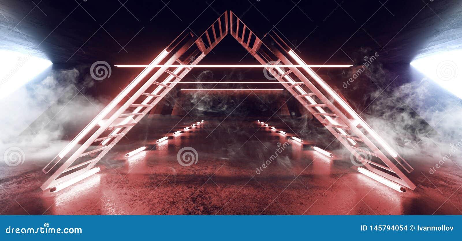 Dreieck-Struktur-vibrierendes Neon-glühende weiße gelb-orangee Lichter Rauch Sci FI Leuchtstoff im enormer dunkler Zement-konkret