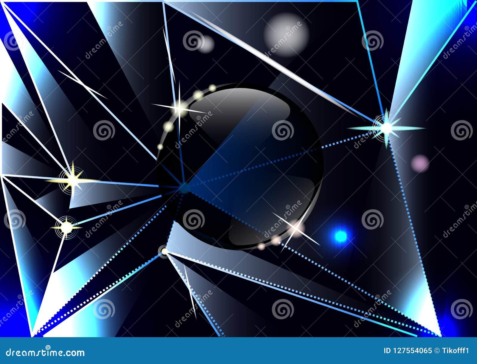 Dreieckige Scherben des dunklen Glases, Prismen, Glaskugel, abstrakter Hintergrund
