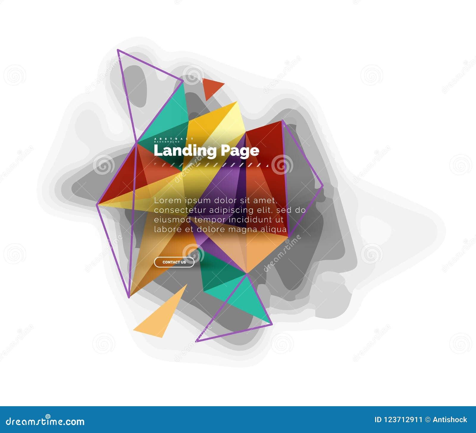Dreieckiger Designzusammenfassungshintergrund, Landungsseite Bunte Dreiecke der niedrigen Polyart auf Weiß