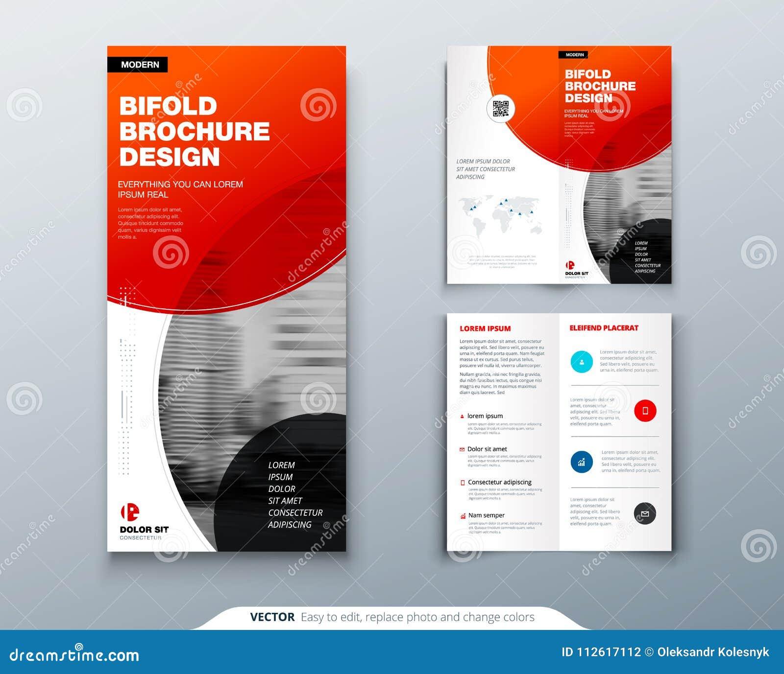 Dreifachgefalteter Broschüren-Entwurf Rote Geschäftsschablone für dreifachgefalteten Flieger Plan mit modernem Kreisfoto und -zus