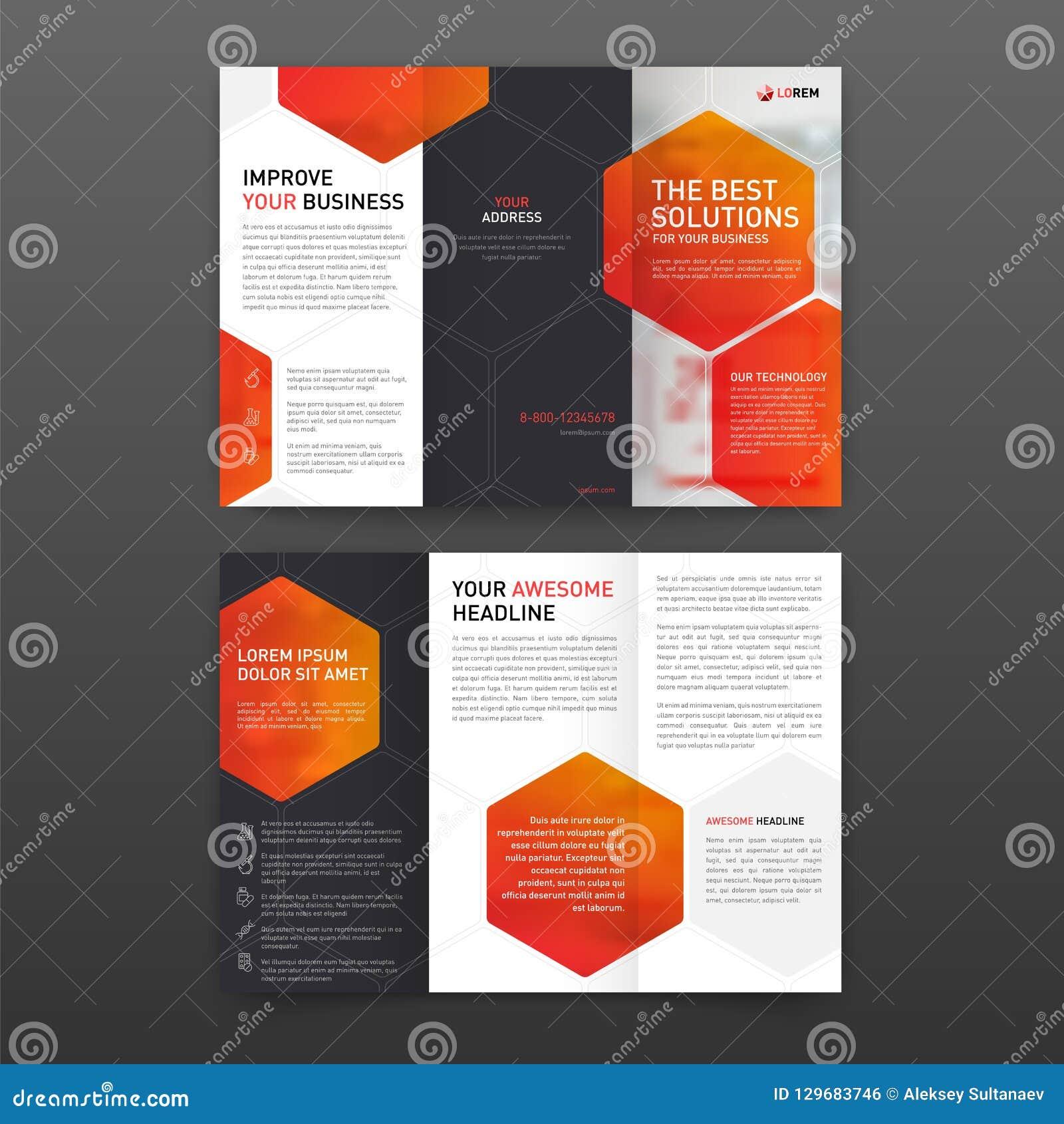 Dreifachgefalteter Plan Schablone der pharmazeutischen Broschüre mit den Ikonen eingestellt