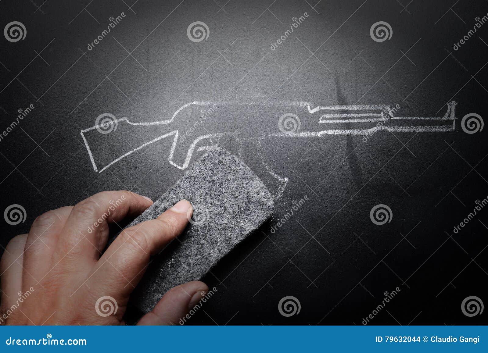 Drenaje borrado en la pizarra - ningún concepto del arma de la violencia