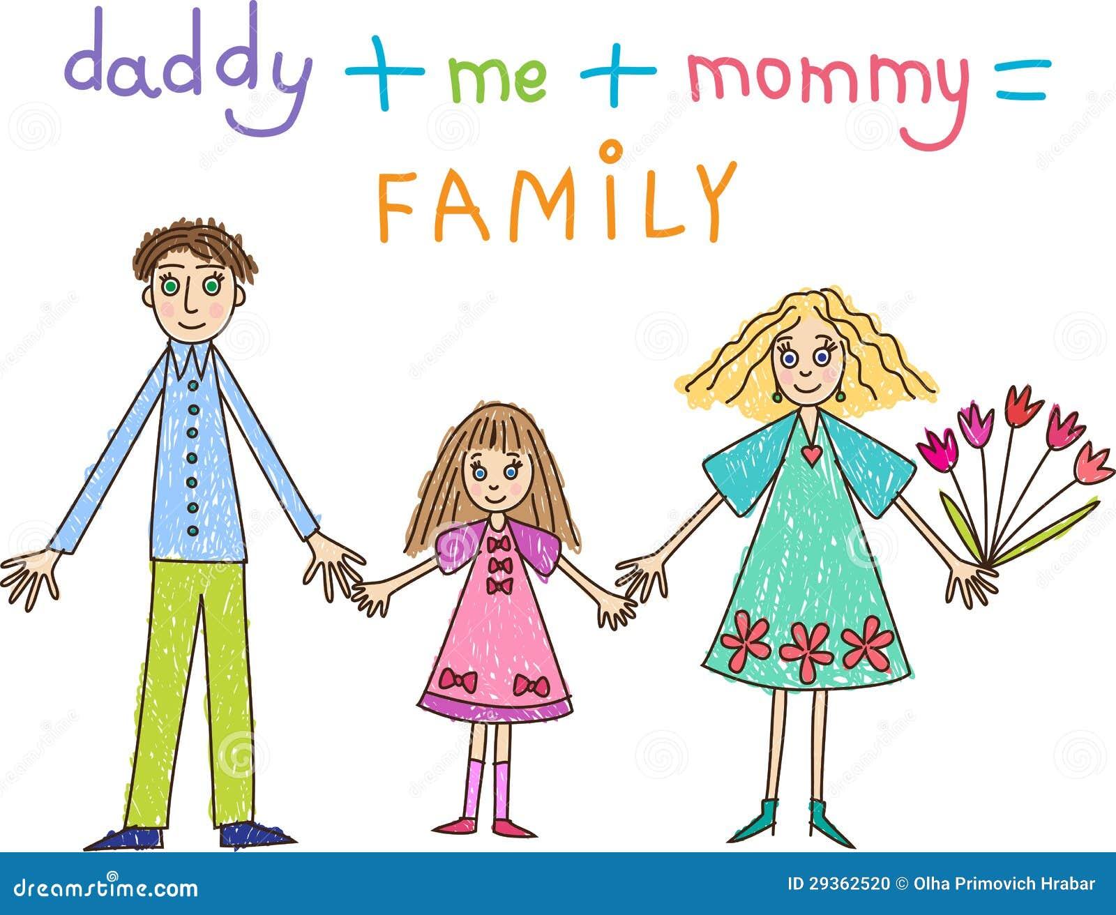Libro Para Colorear Madre Hija Ilustraciones Vectoriales Clip: Drenaje De Los Niños. Familia: Madre, Padre E Hija