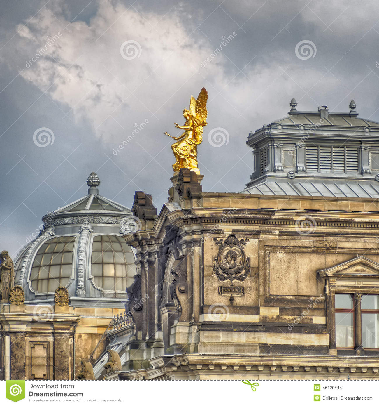 dresden academy of arts roof saxony germany stock photo image 46120644. Black Bedroom Furniture Sets. Home Design Ideas