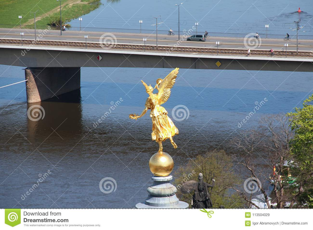 Fama A Symbol Of Glory Over The Elbe Editorial Stock Image