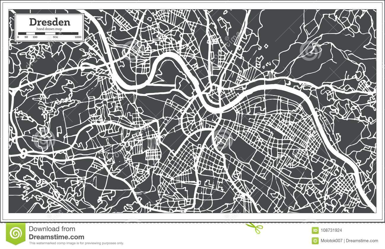 Dresden Germany City Map In Retro Style. Outline Map. Stock Vector on
