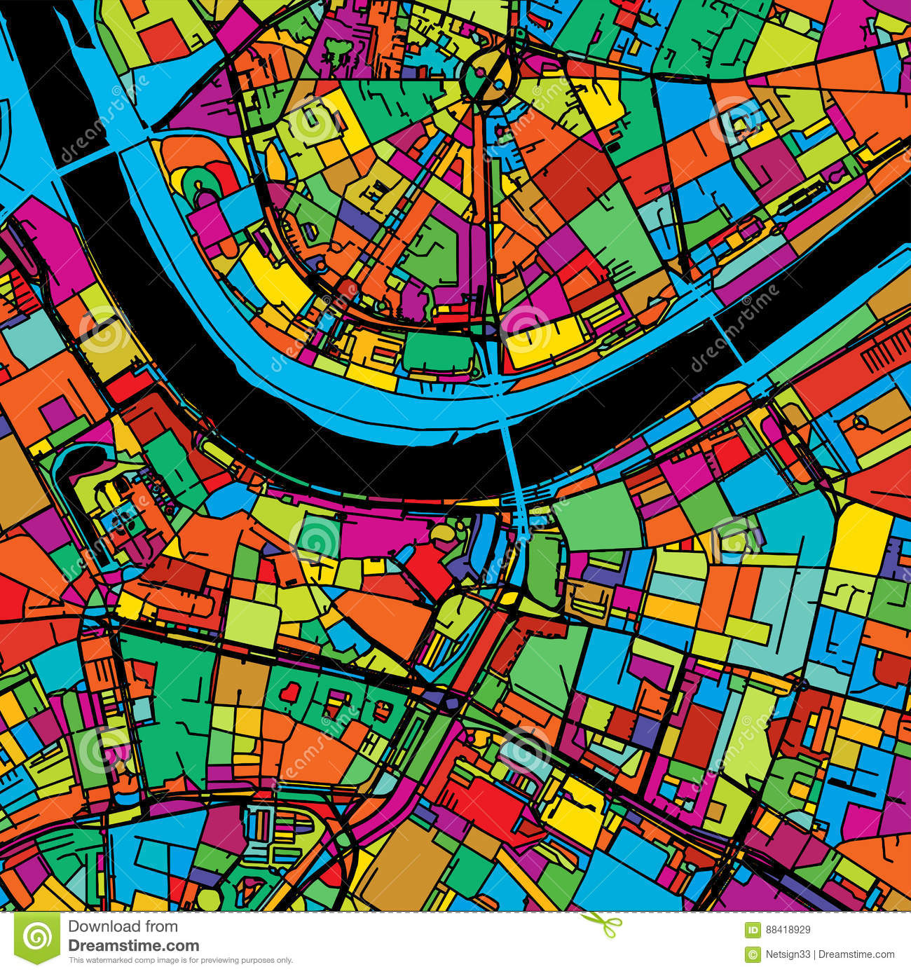Dresden, Germany, Colorful Vector Map On Black Stock ...