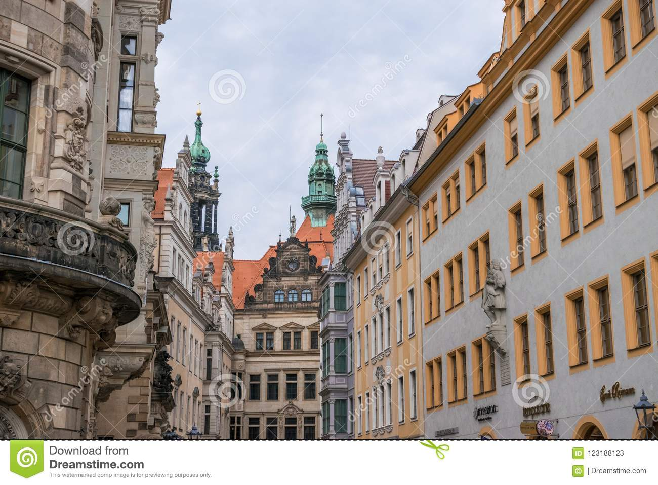 Dresden, Germany, mosaic wall and Frauenkirche