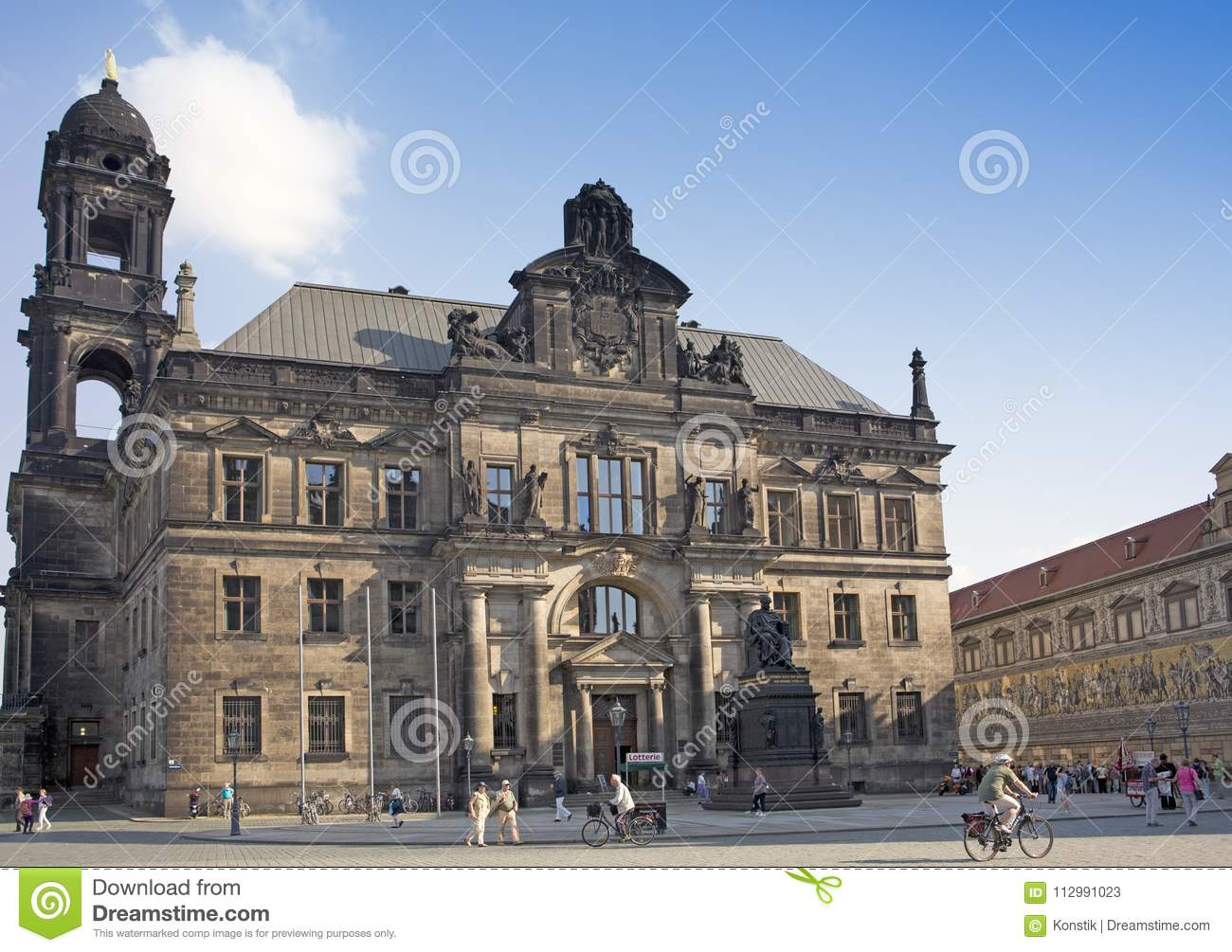 DRESDEN, GERMANY - SEPTEMBER 17, 2014: The monument to Frederick Augustus I king of Saxony near the Court of Appeal