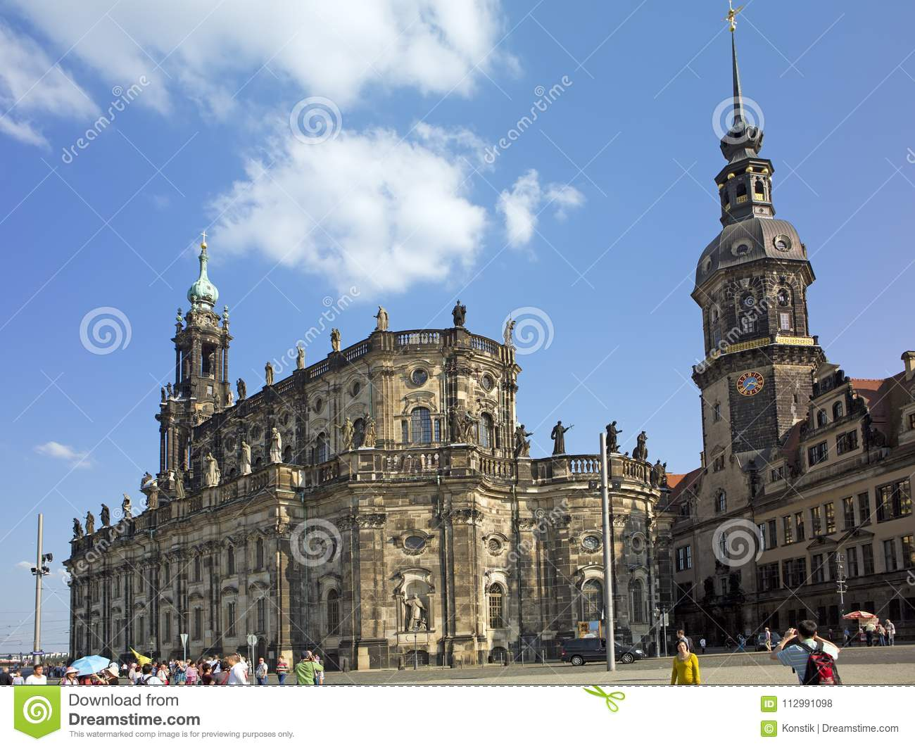 DRESDEN, GERMANY - SEPTEMBER 17, 2014: People walk in the center of Old town, near Cathedral of the Holy Trinity or Hofkirche and