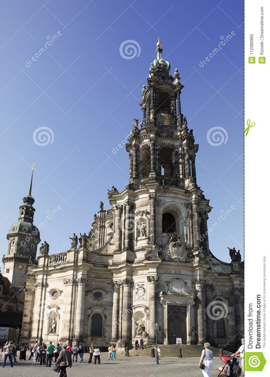DRESDEN, GERMANY - SEPTEMBER 17: People walk in the center of Old town, near Holy Trinity or Hofkirche