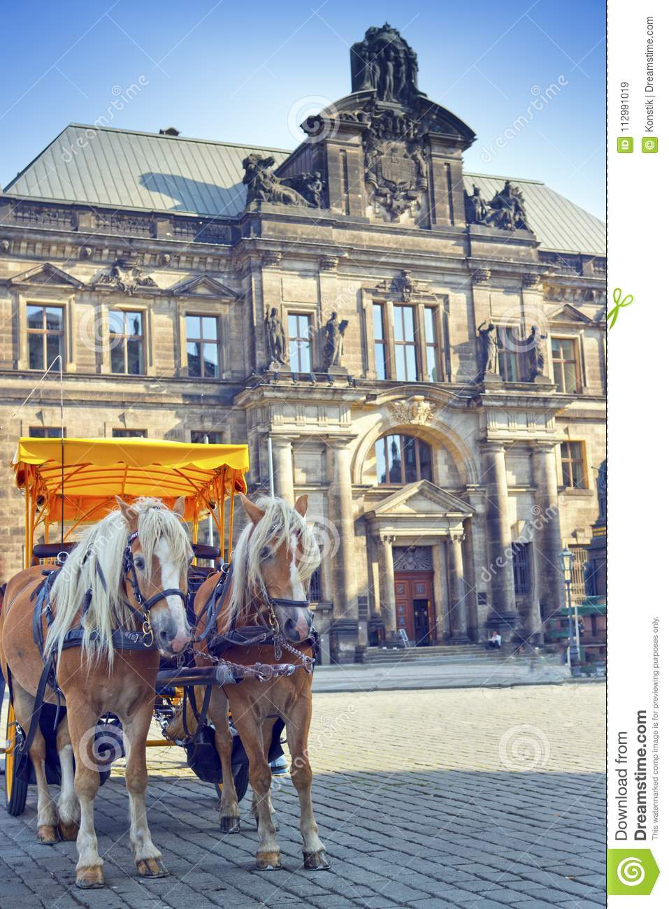 Dresden. The horse vehicle for tourist walks in the old city