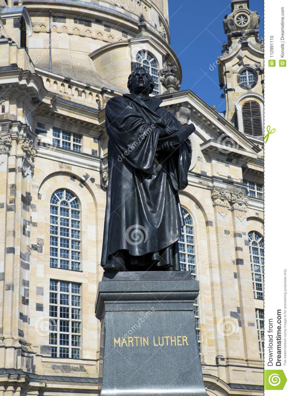 Dresden. Martin Luther monument in front of Frauenkirche cathedral