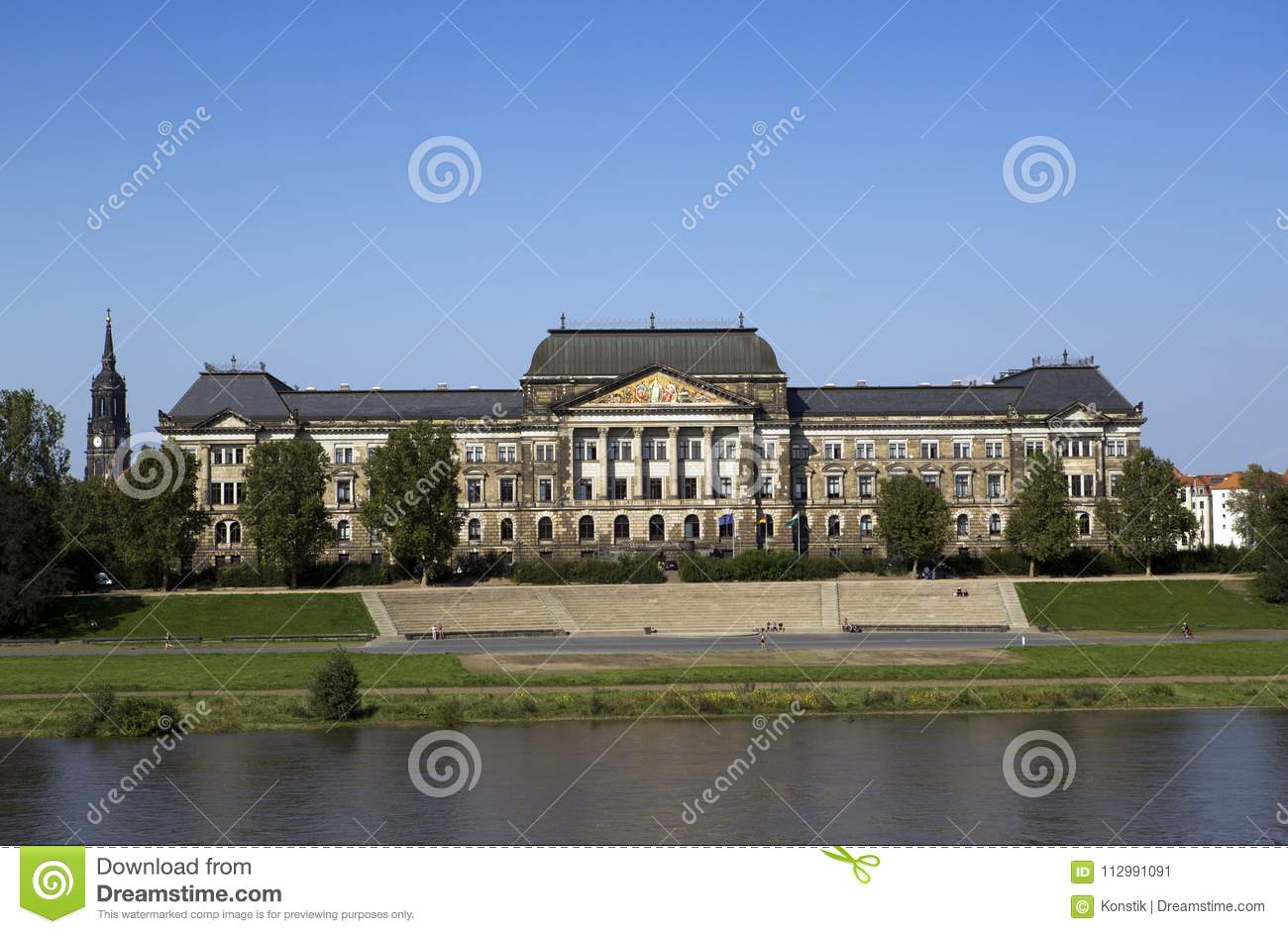 Dresden. Saxon State Ministry of Finance building on the Elbe river