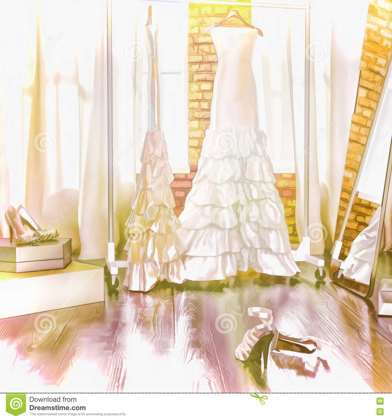 Dress Of The Bride. In A Fitting Room. Stock Illustration