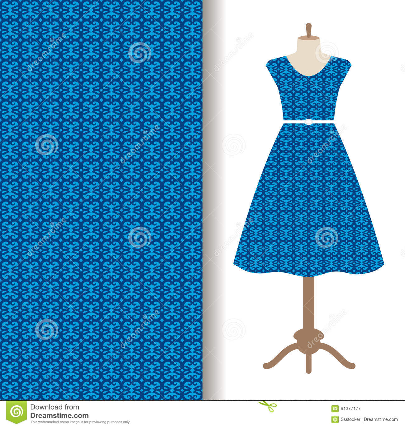Dress fabric with blue arabic pattern