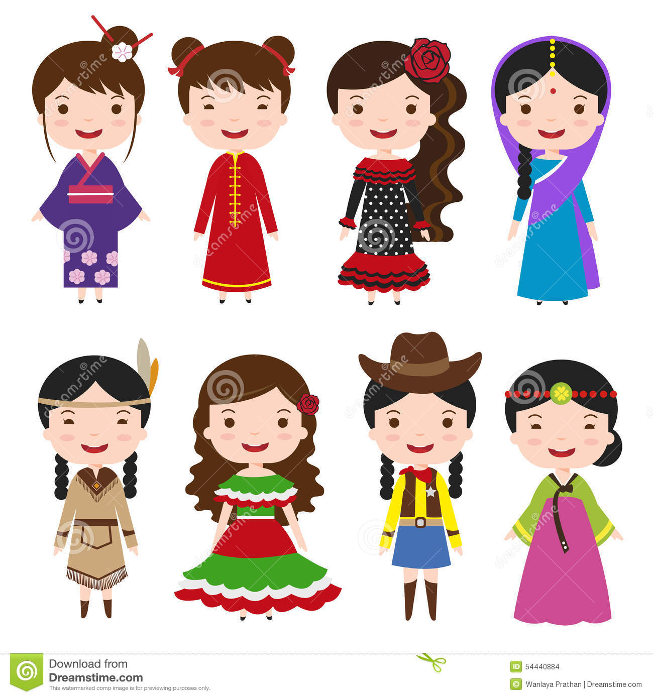 Traditional Japanese House Plans Dress Girls In Traditional Costumes Stock Vector Image