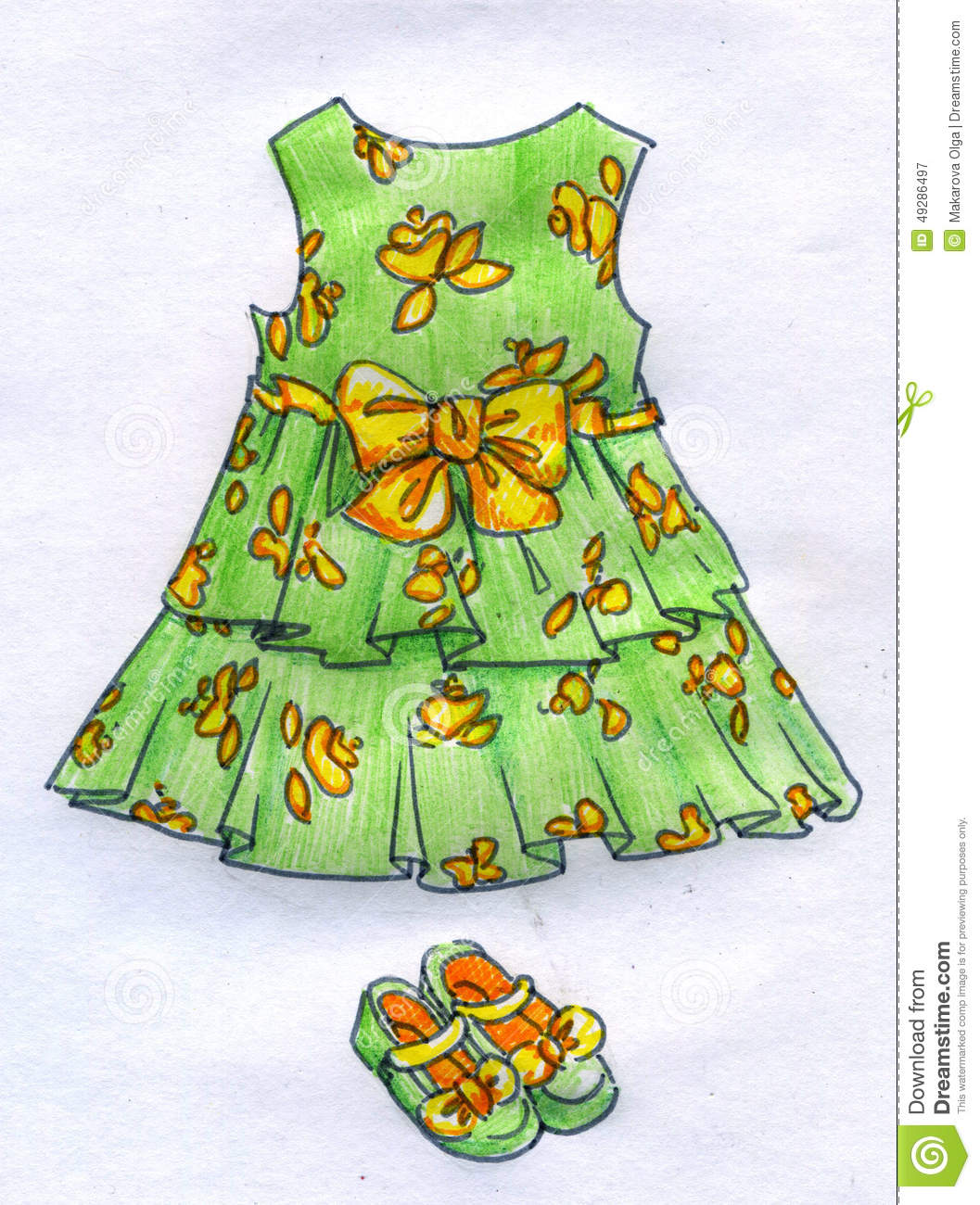 3687b07f793 Hand drawn colored pencil sketch of a green dress and shoes for a little  girl. The dress is of simple design, has flowery pattern and big yellow  ribbon with ...
