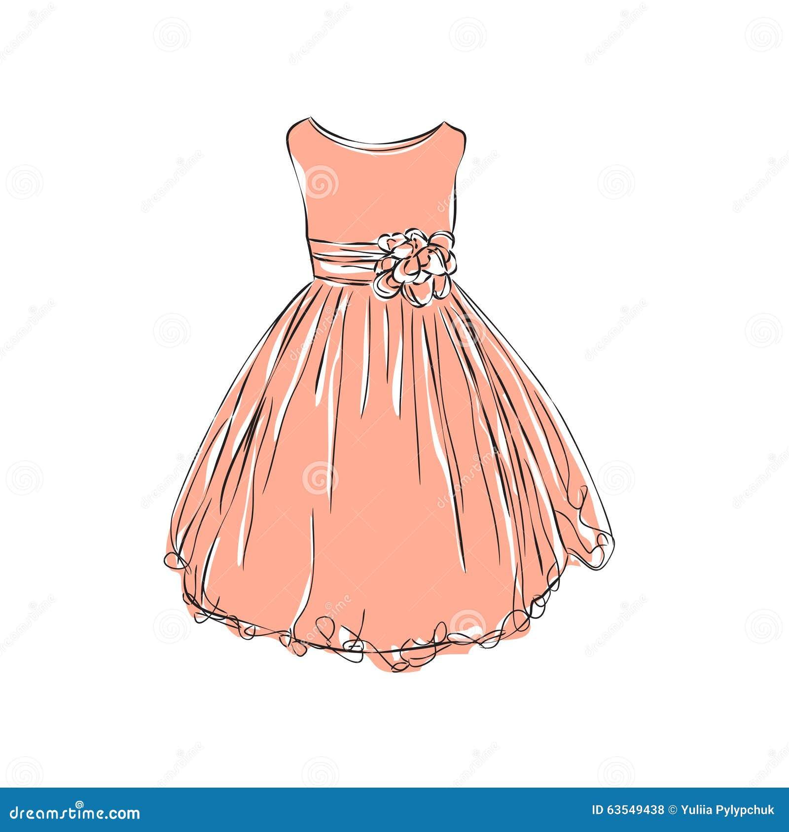 Dress For Little Girls. Stock Vector - Image: 63549438